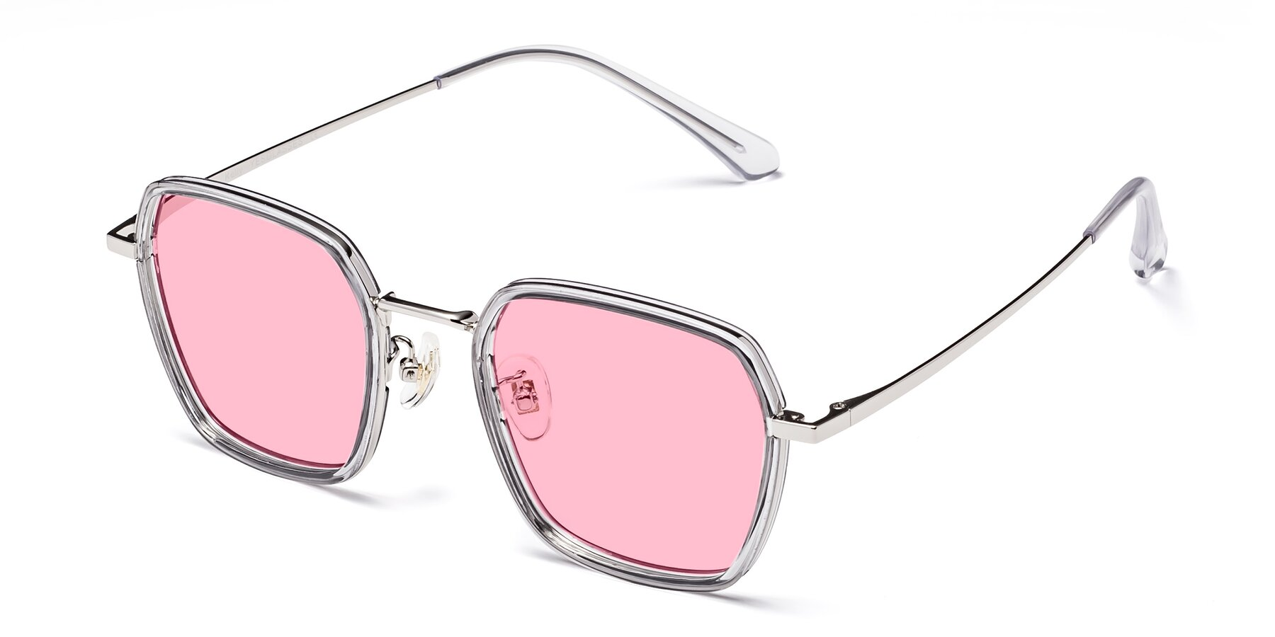 Angle of Kelly in Light Gray-Silver with Medium Pink Tinted Lenses