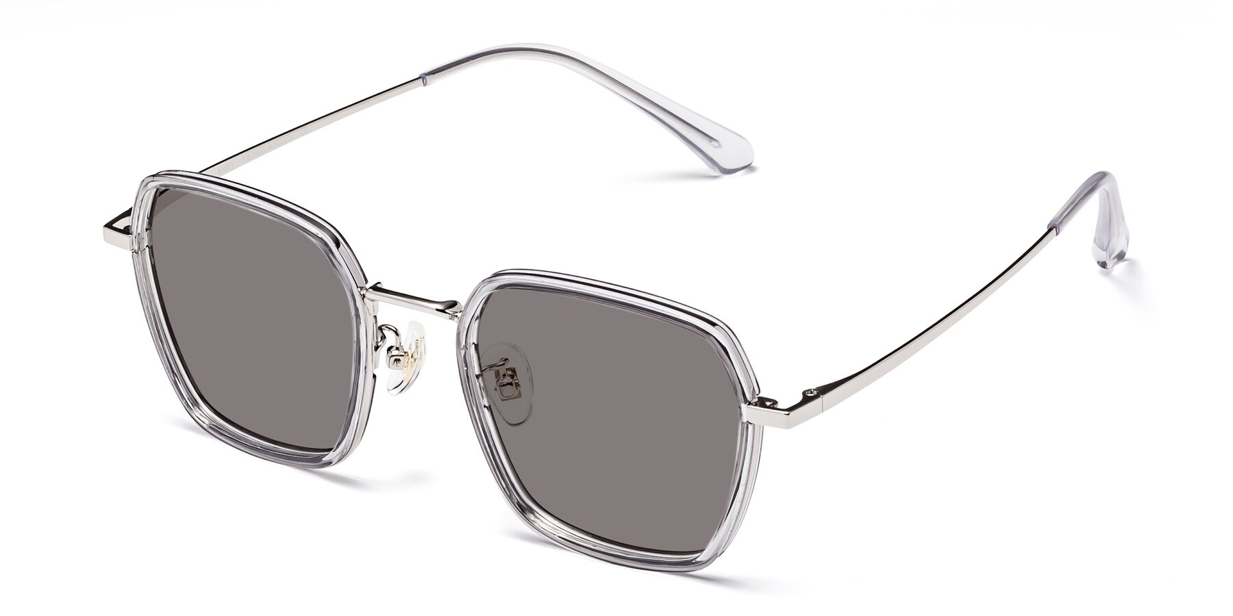 Angle of Kelly in Light Gray-Silver with Medium Gray Tinted Lenses