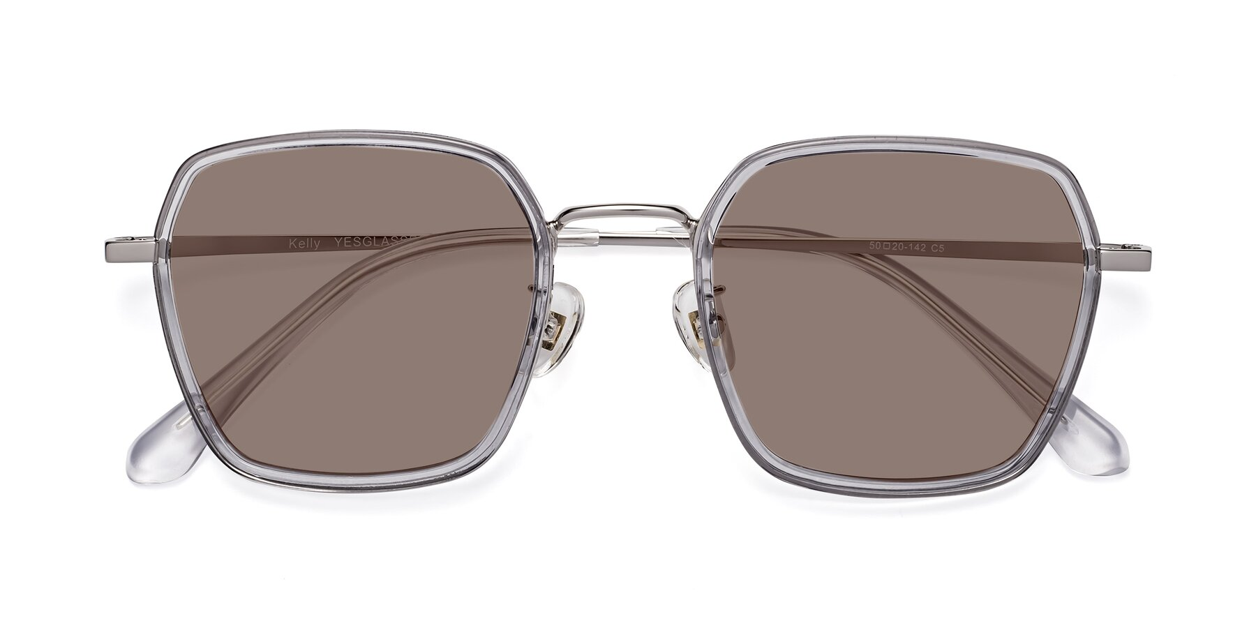 Folded Front of Kelly in Light Gray-Silver with Medium Brown Tinted Lenses