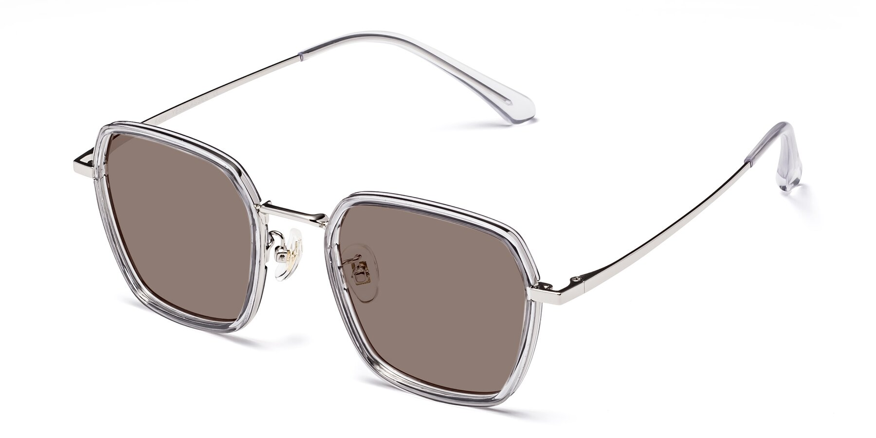 Angle of Kelly in Light Gray-Silver with Medium Brown Tinted Lenses