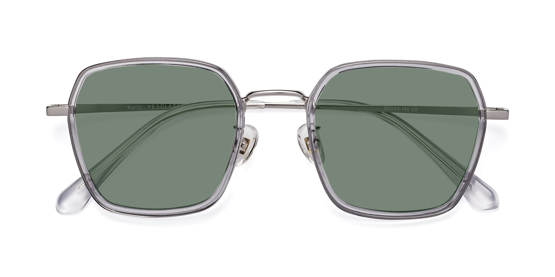 Folded Front of Kelly in Light Gray-Silver with Medium Green Tinted Lenses