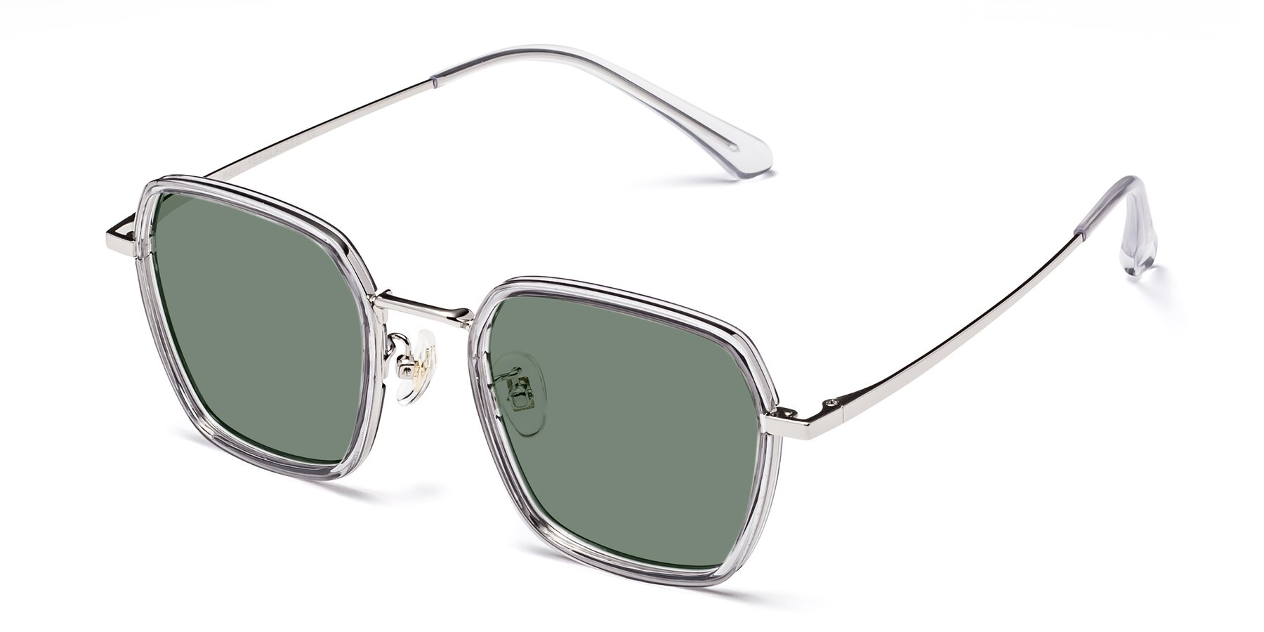 Angle of Kelly in Light Gray-Silver with Medium Green Tinted Lenses