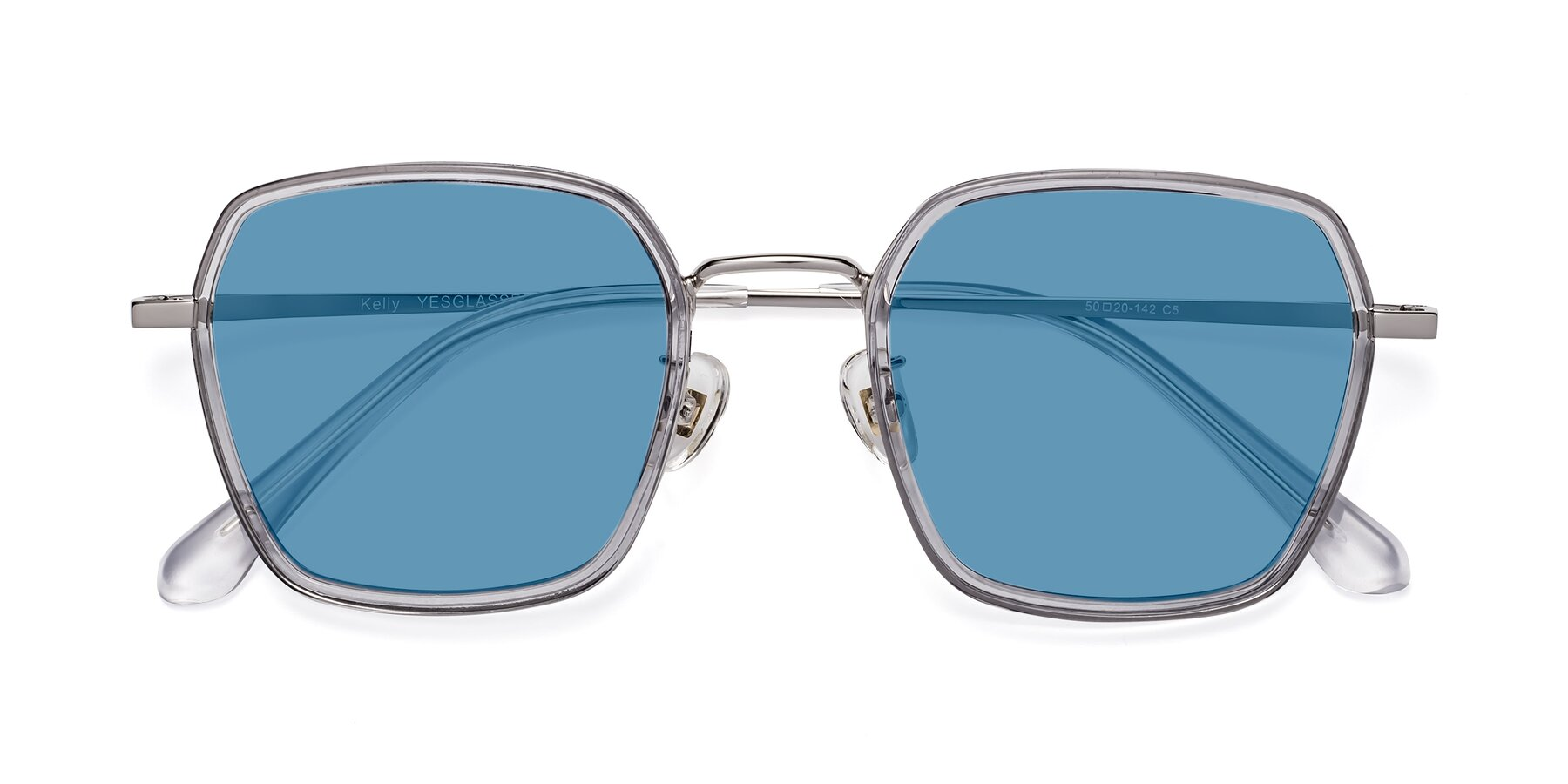 Folded Front of Kelly in Light Gray-Silver with Medium Blue Tinted Lenses
