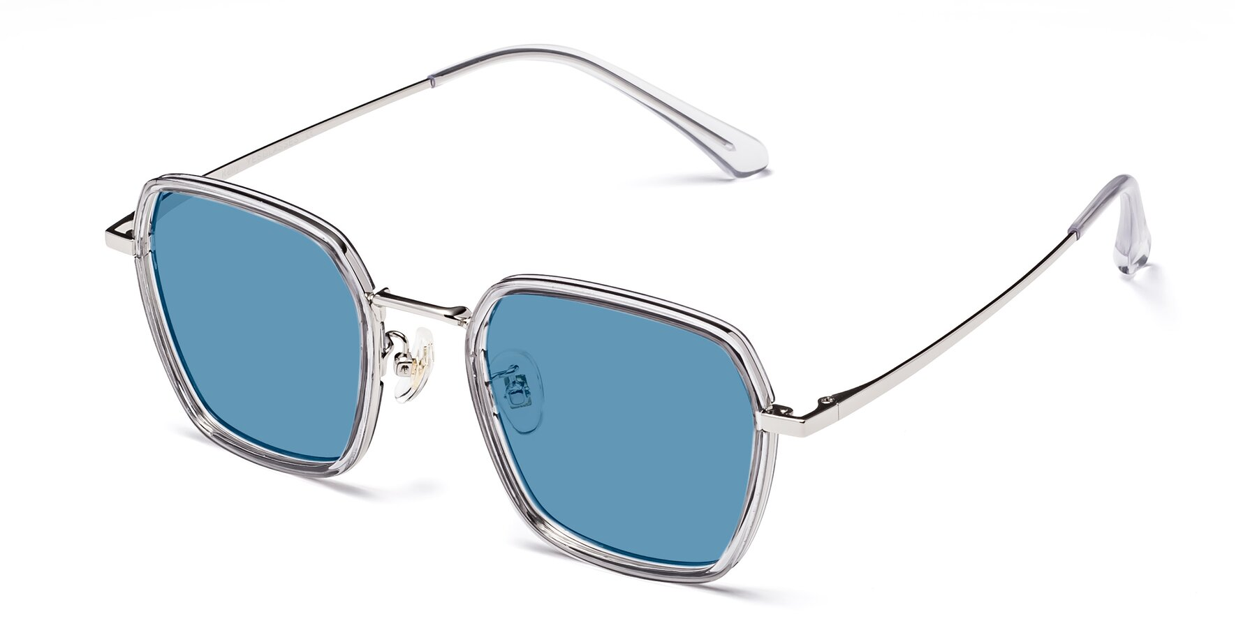 Angle of Kelly in Light Gray-Silver with Medium Blue Tinted Lenses