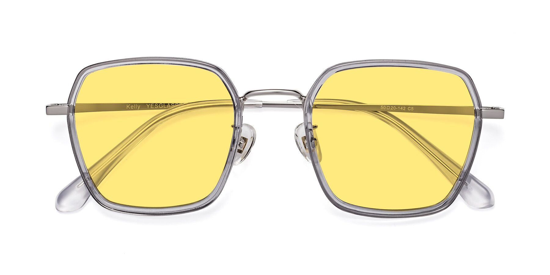 Folded Front of Kelly in Light Gray-Silver with Medium Yellow Tinted Lenses