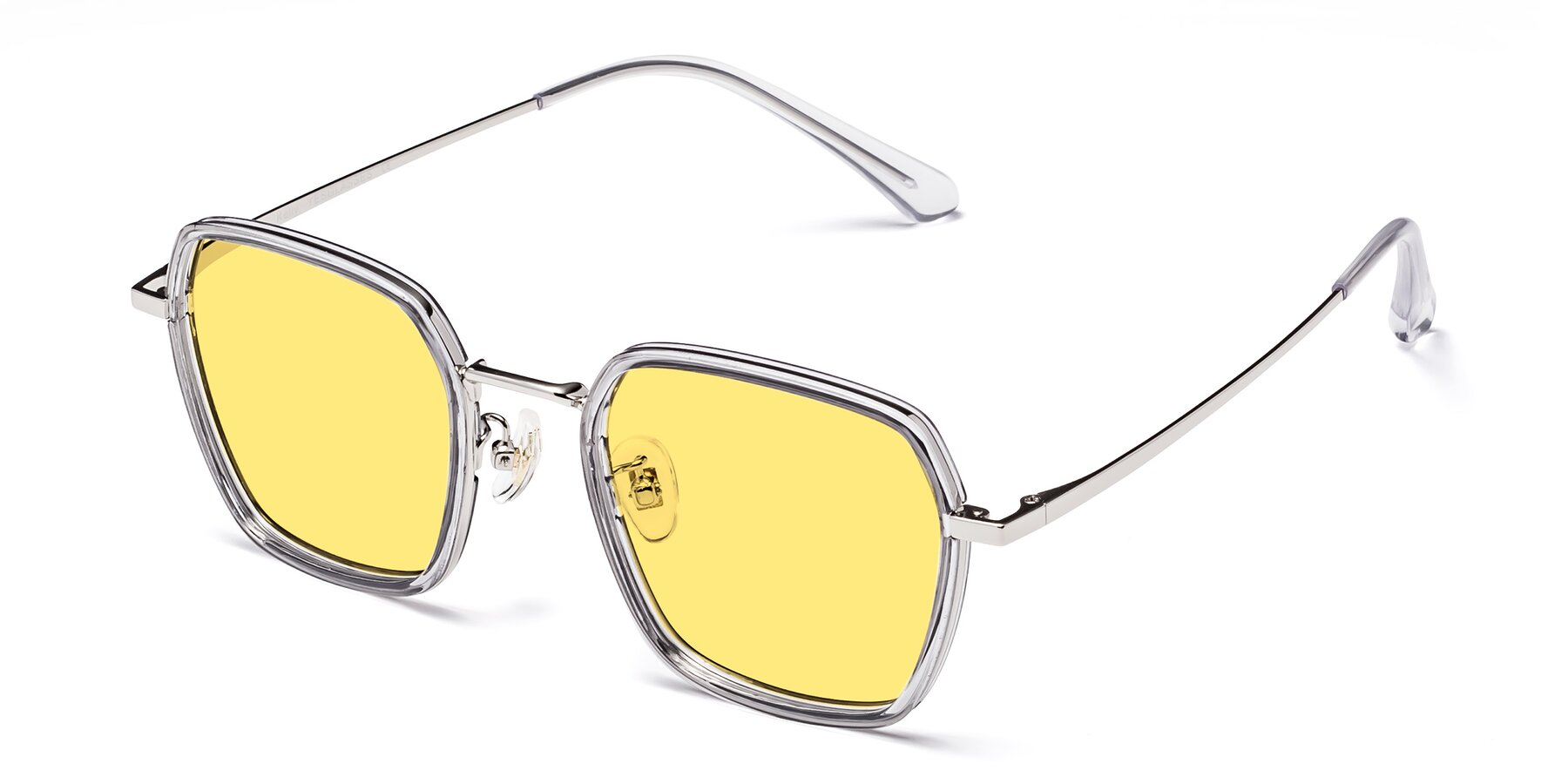 Angle of Kelly in Light Gray-Silver with Medium Yellow Tinted Lenses