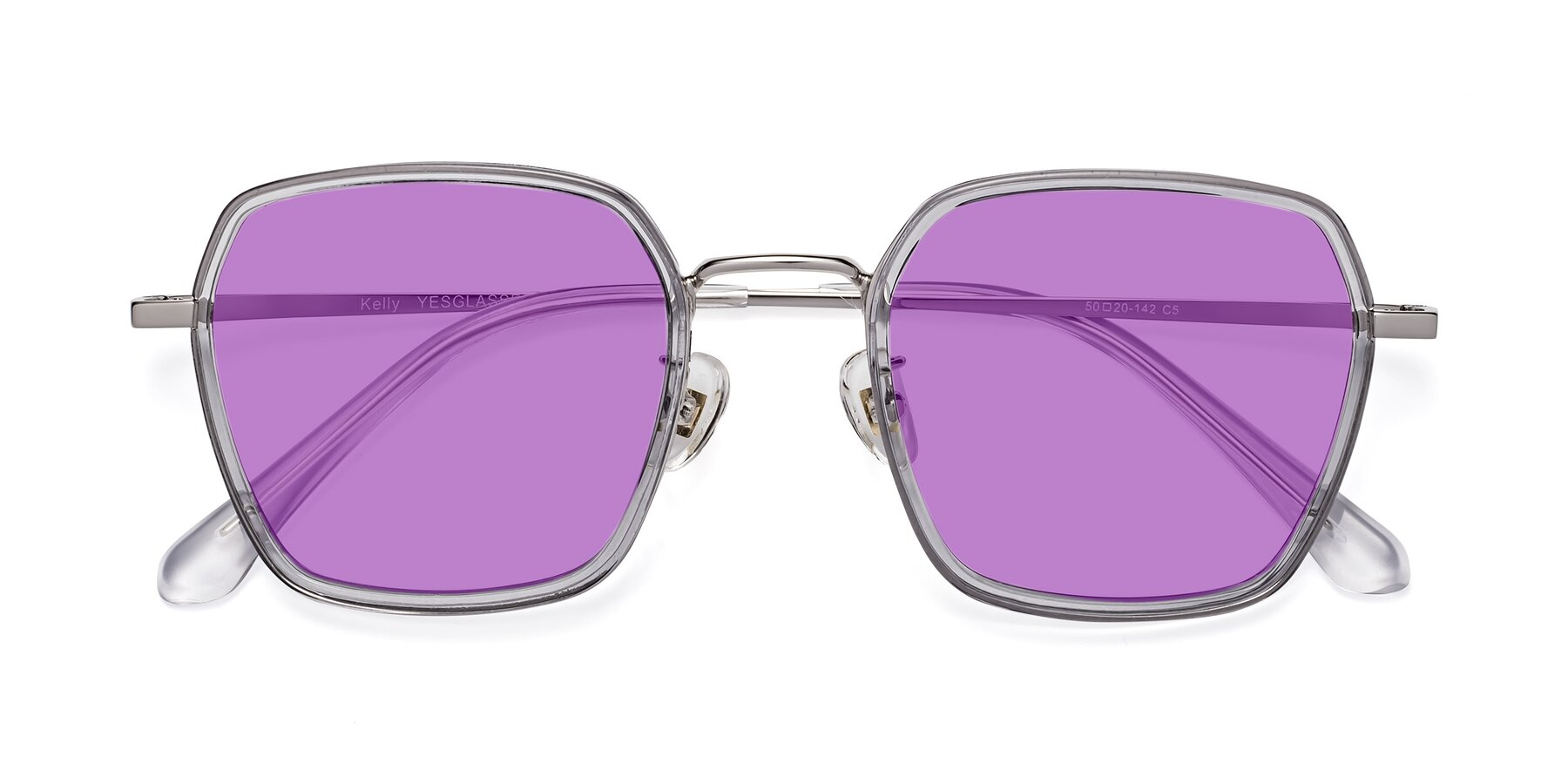 Folded Front of Kelly in Light Gray-Silver with Medium Purple Tinted Lenses