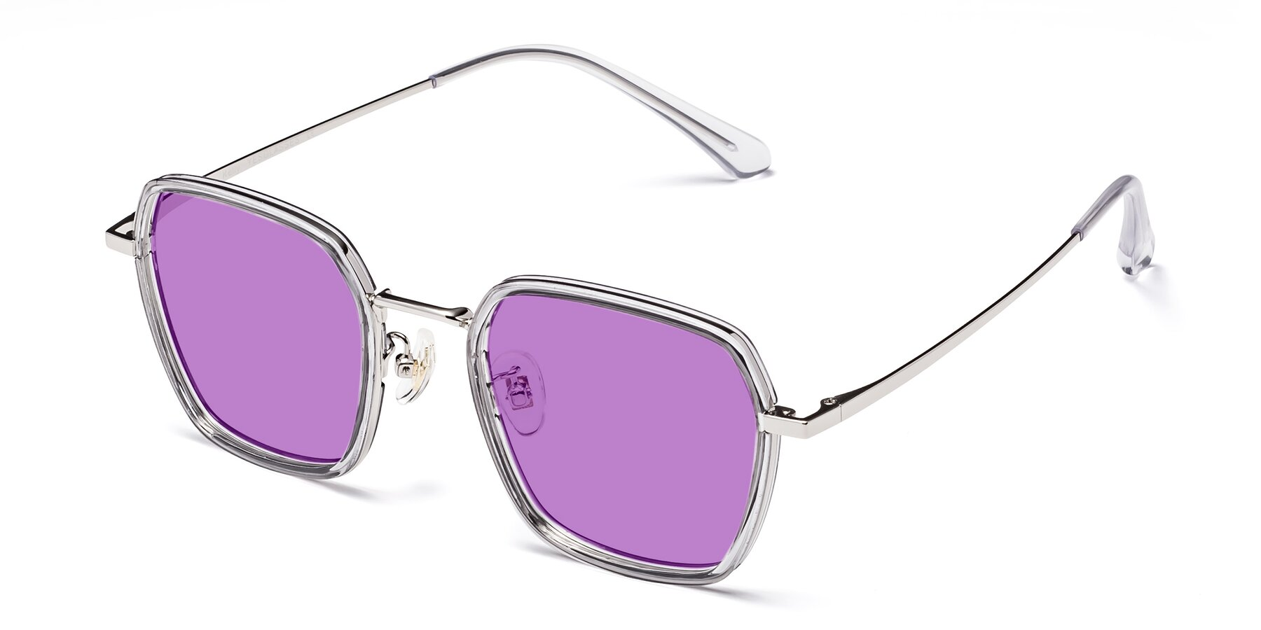 Angle of Kelly in Light Gray-Silver with Medium Purple Tinted Lenses