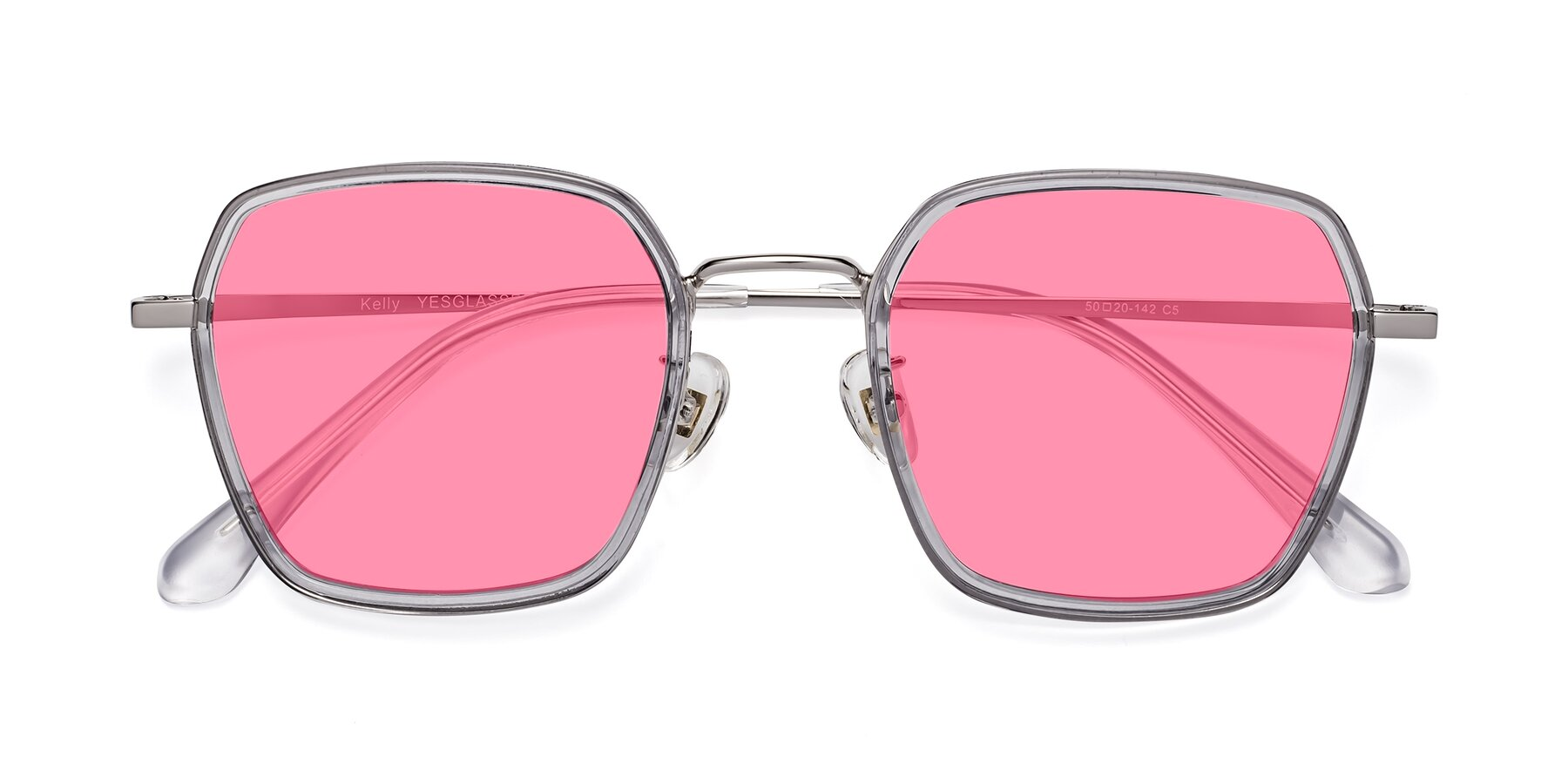 Folded Front of Kelly in Light Gray-Silver with Pink Tinted Lenses