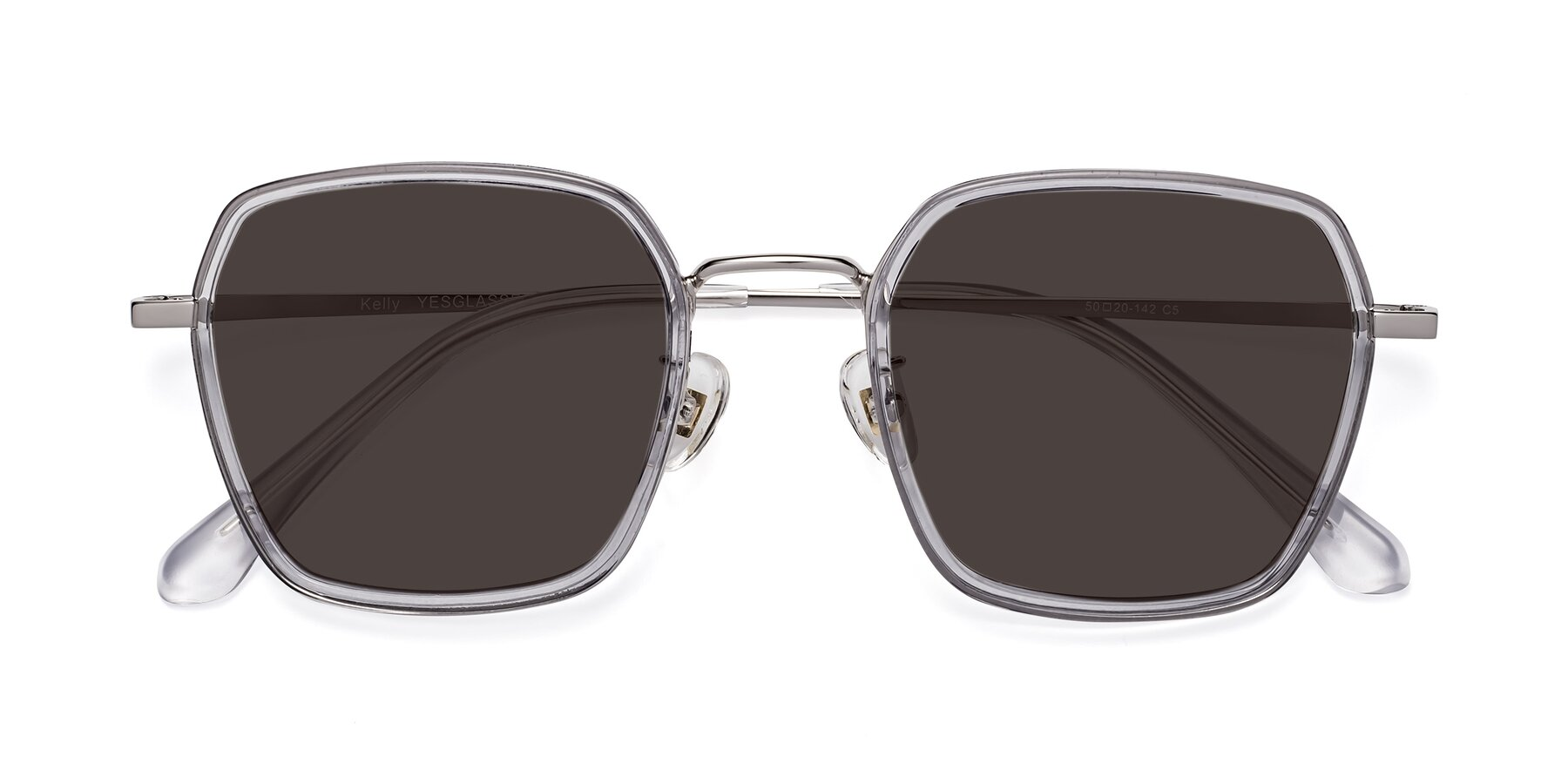 Folded Front of Kelly in Light Gray-Silver with Gray Tinted Lenses