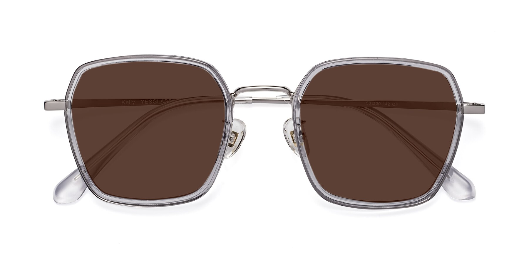 Folded Front of Kelly in Light Gray-Silver with Brown Tinted Lenses