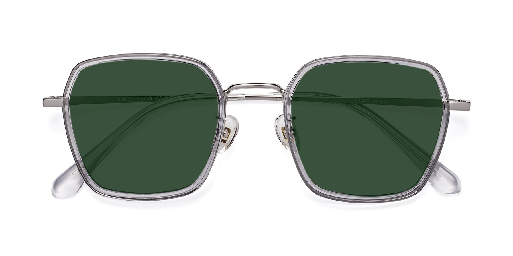 Folded Front of Kelly in Light Gray-Silver with Green Tinted Lenses