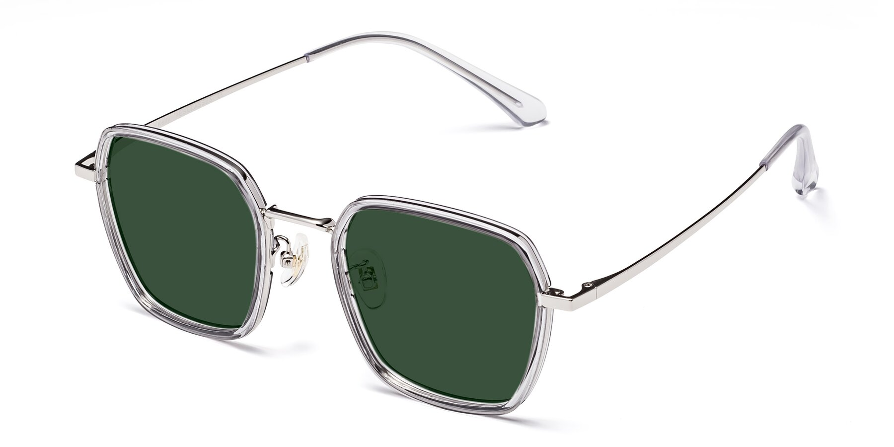Angle of Kelly in Light Gray-Silver with Green Tinted Lenses