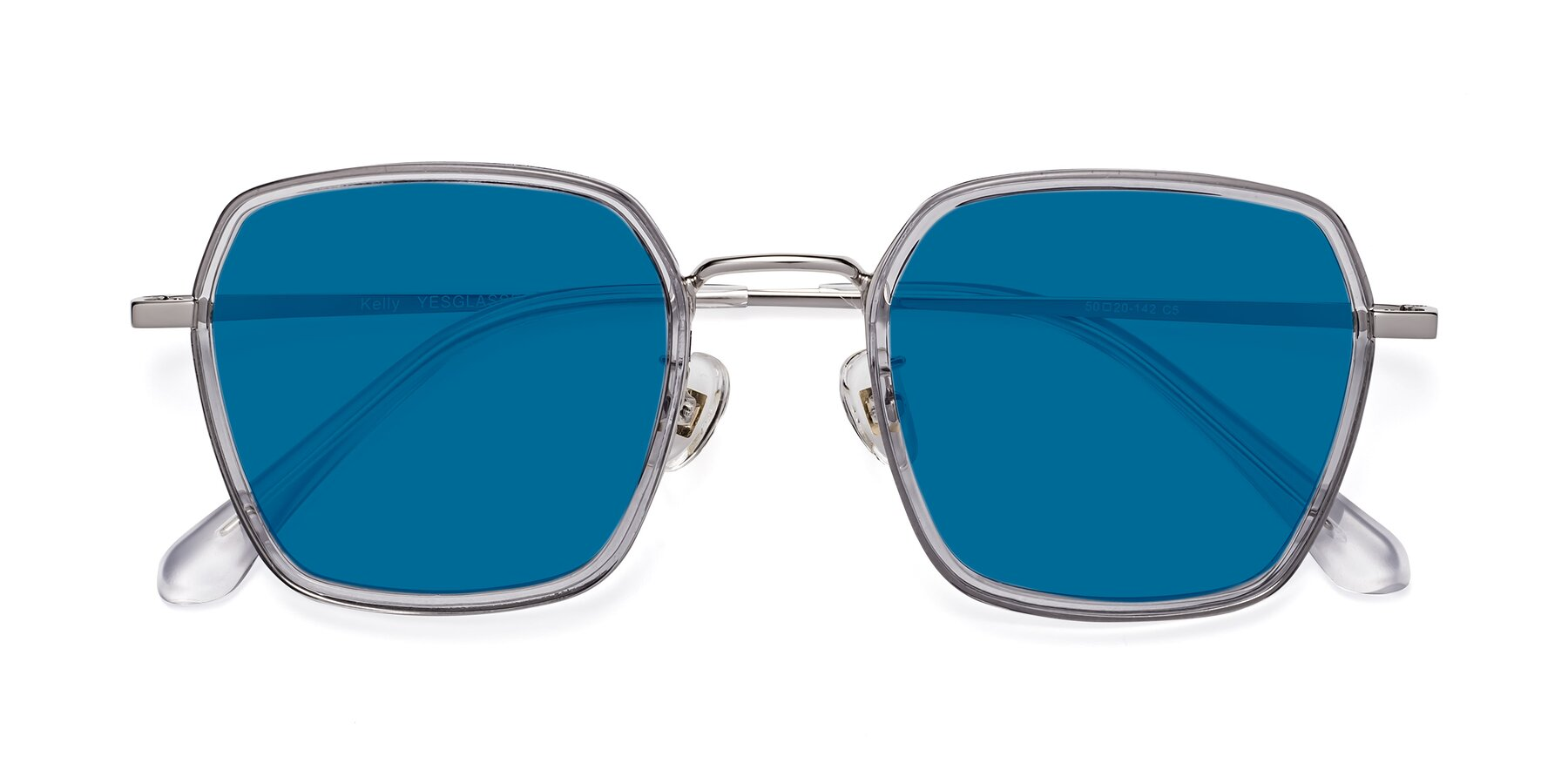 Folded Front of Kelly in Light Gray-Silver with Blue Tinted Lenses