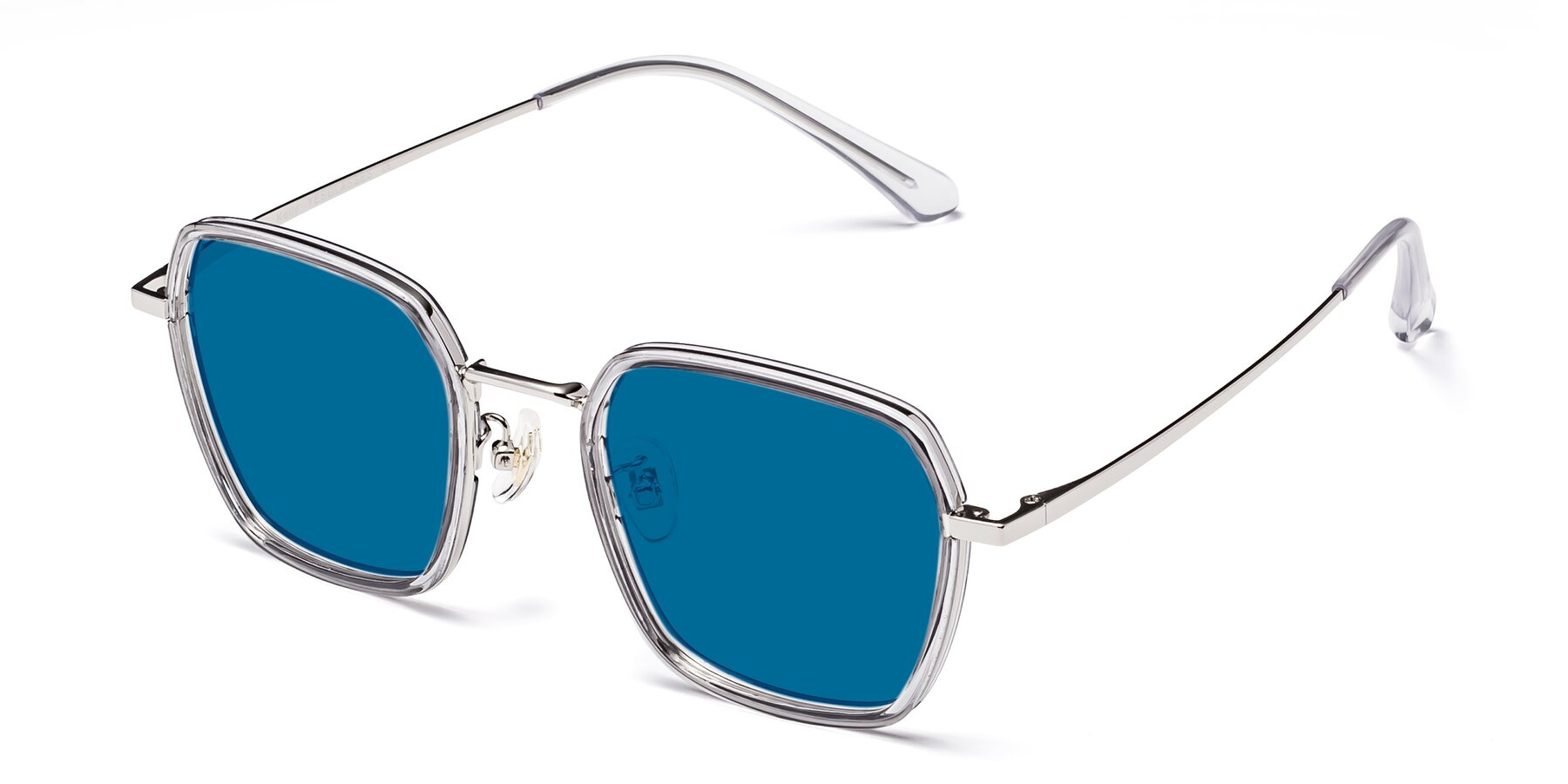 Angle of Kelly in Light Gray-Silver with Blue Tinted Lenses