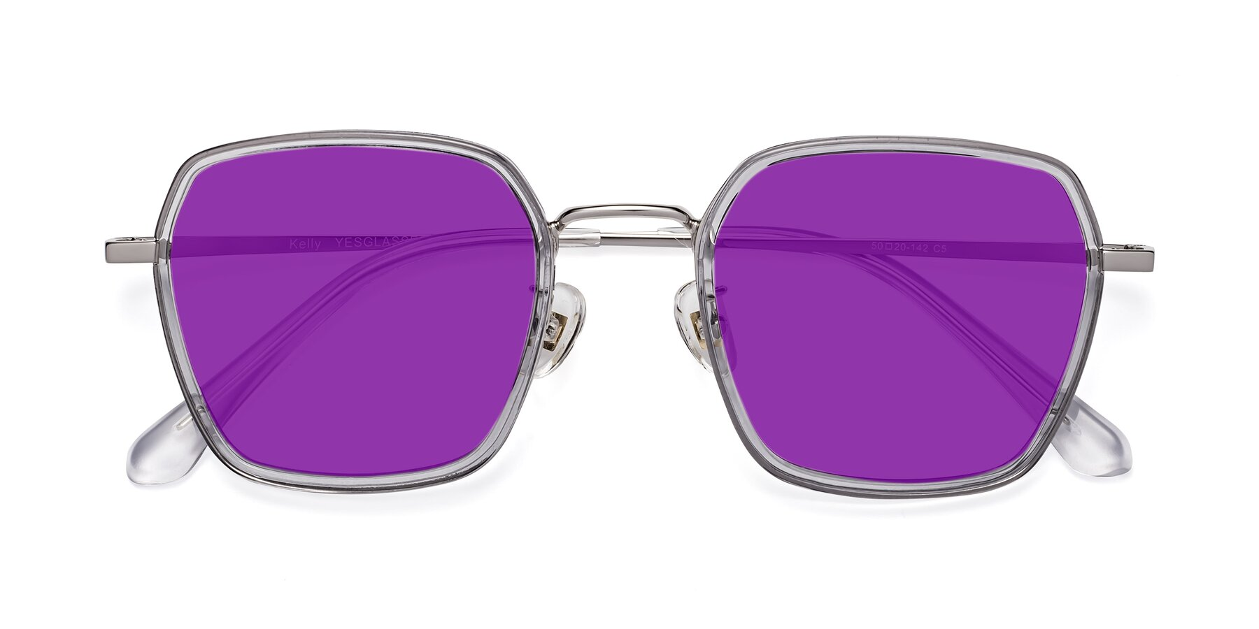 Folded Front of Kelly in Light Gray-Silver with Purple Tinted Lenses