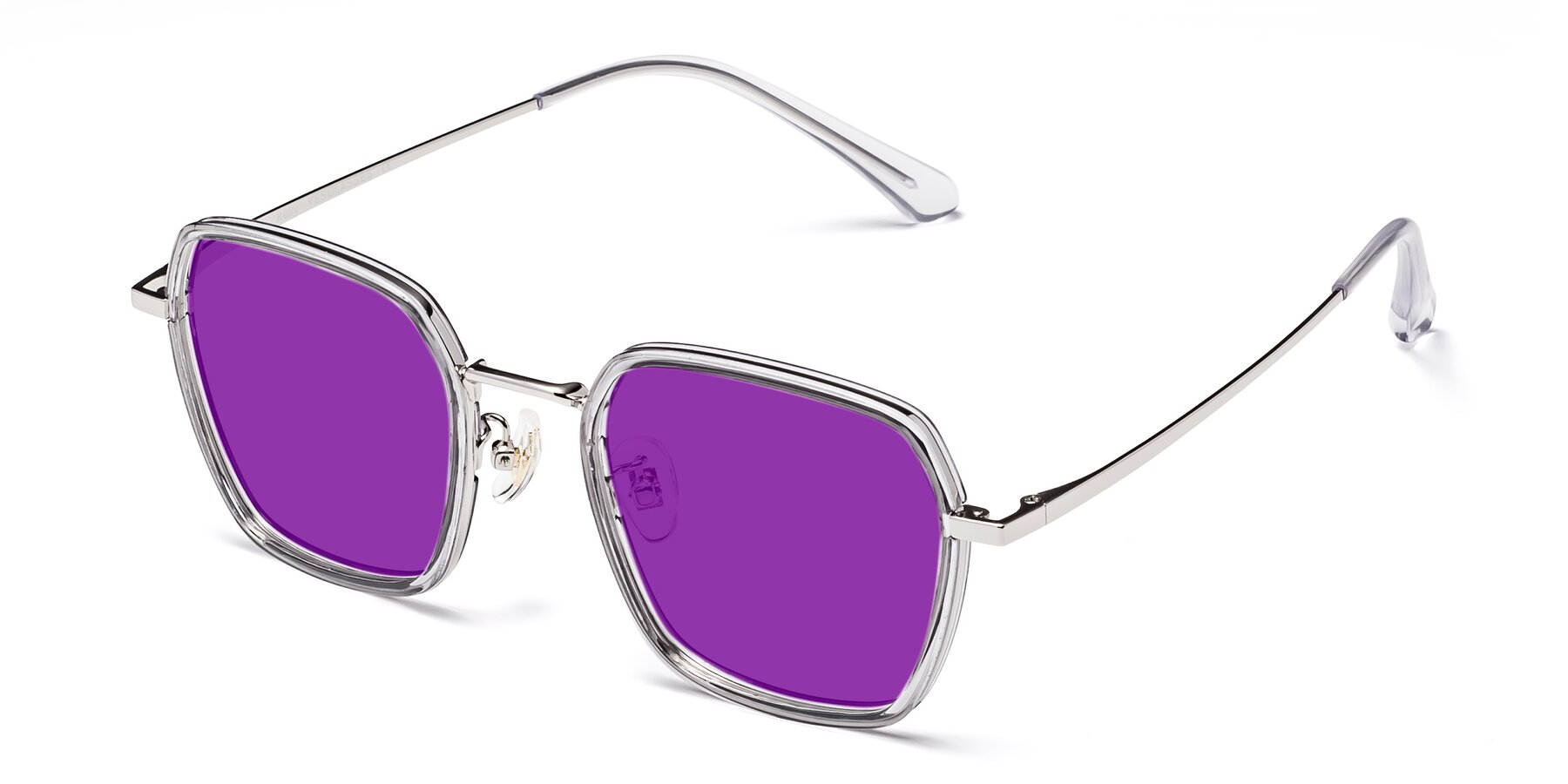 Angle of Kelly in Light Gray-Silver with Purple Tinted Lenses