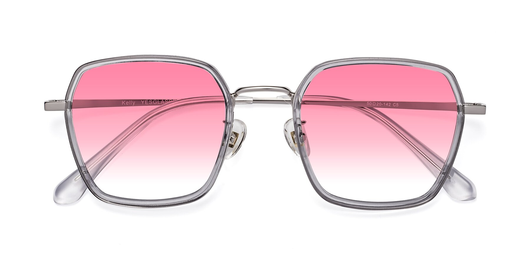 Folded Front of Kelly in Light Gray-Silver with Pink Gradient Lenses