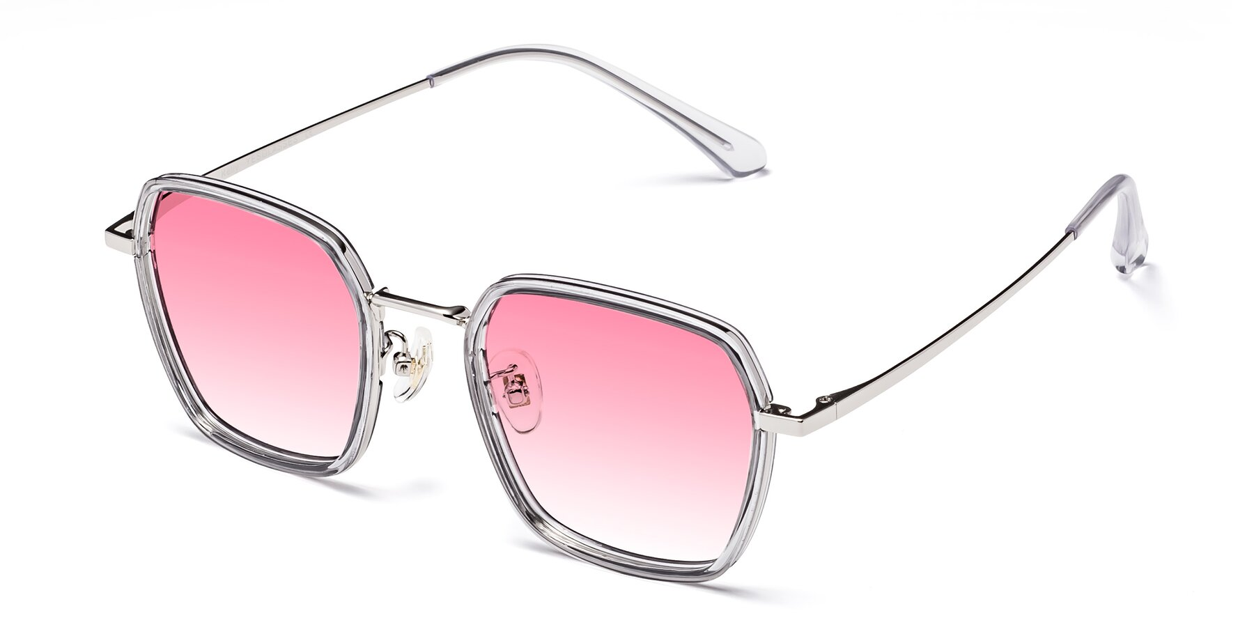 Angle of Kelly in Light Gray-Silver with Pink Gradient Lenses