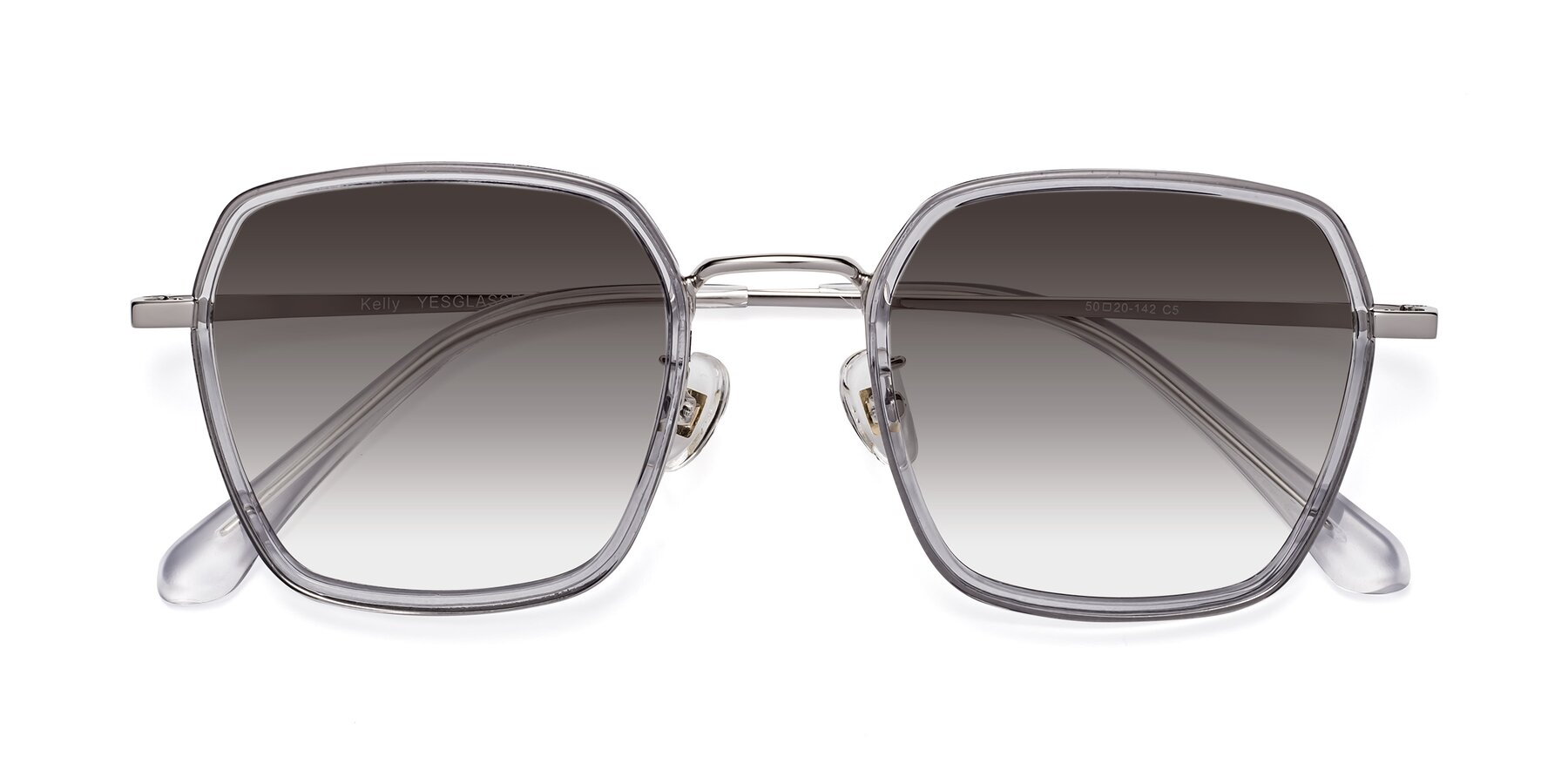 Folded Front of Kelly in Light Gray-Silver with Gray Gradient Lenses