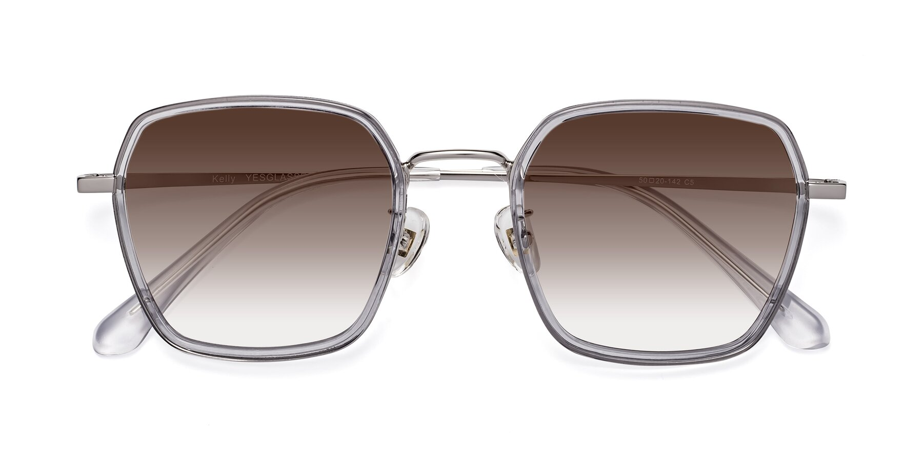 Folded Front of Kelly in Light Gray-Silver with Brown Gradient Lenses