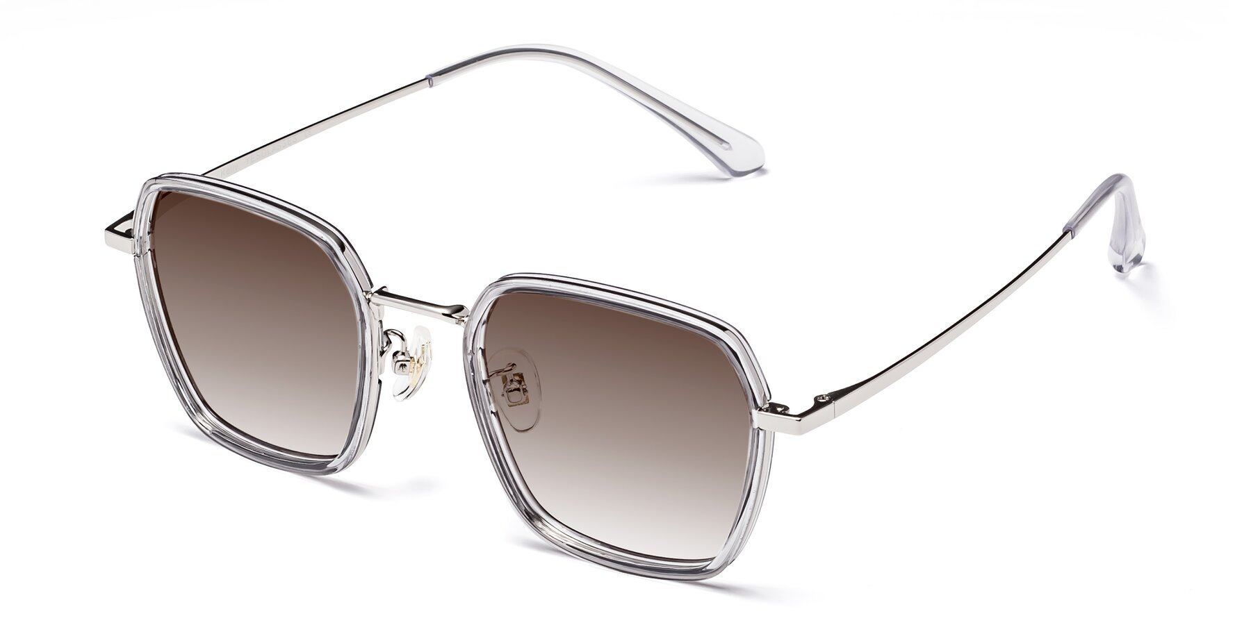 Angle of Kelly in Light Gray-Silver with Brown Gradient Lenses