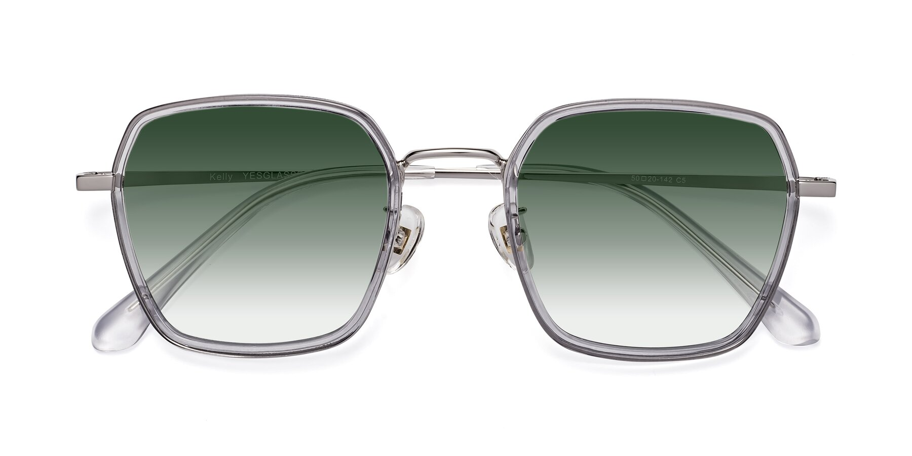 Folded Front of Kelly in Light Gray-Silver with Green Gradient Lenses