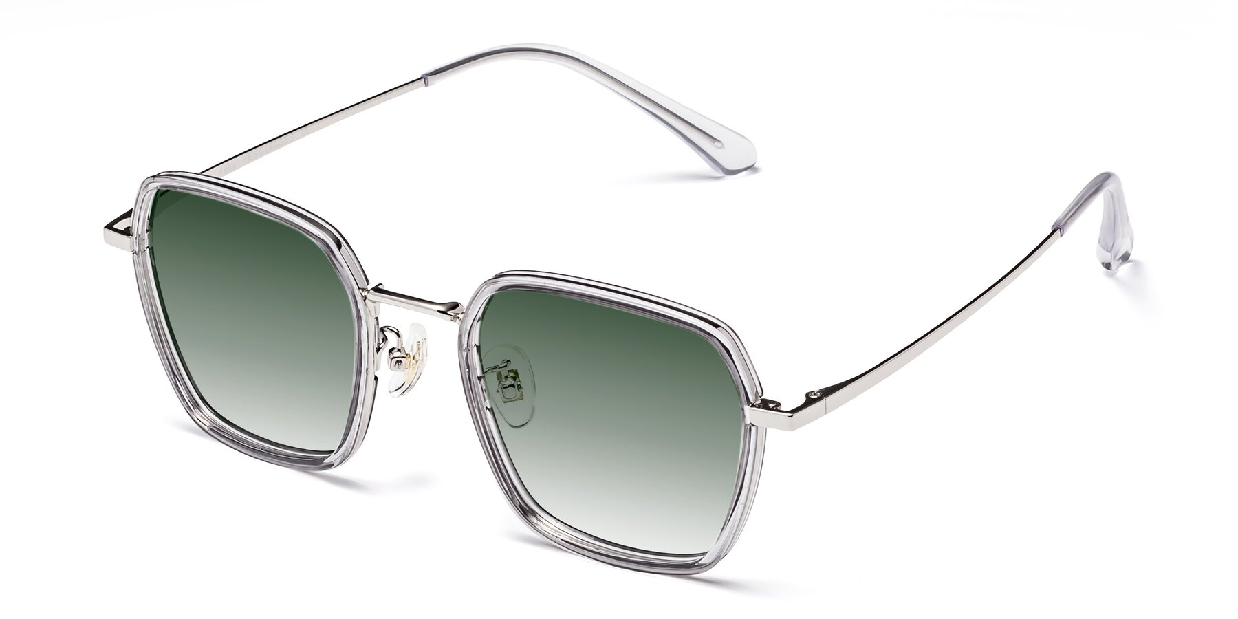Angle of Kelly in Light Gray-Silver with Green Gradient Lenses
