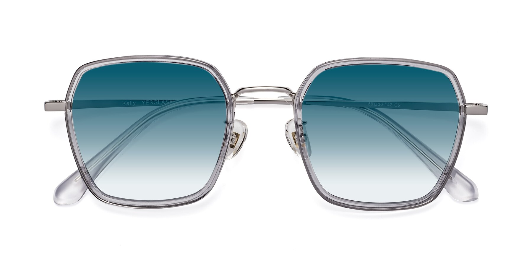 Folded Front of Kelly in Light Gray-Silver with Blue Gradient Lenses