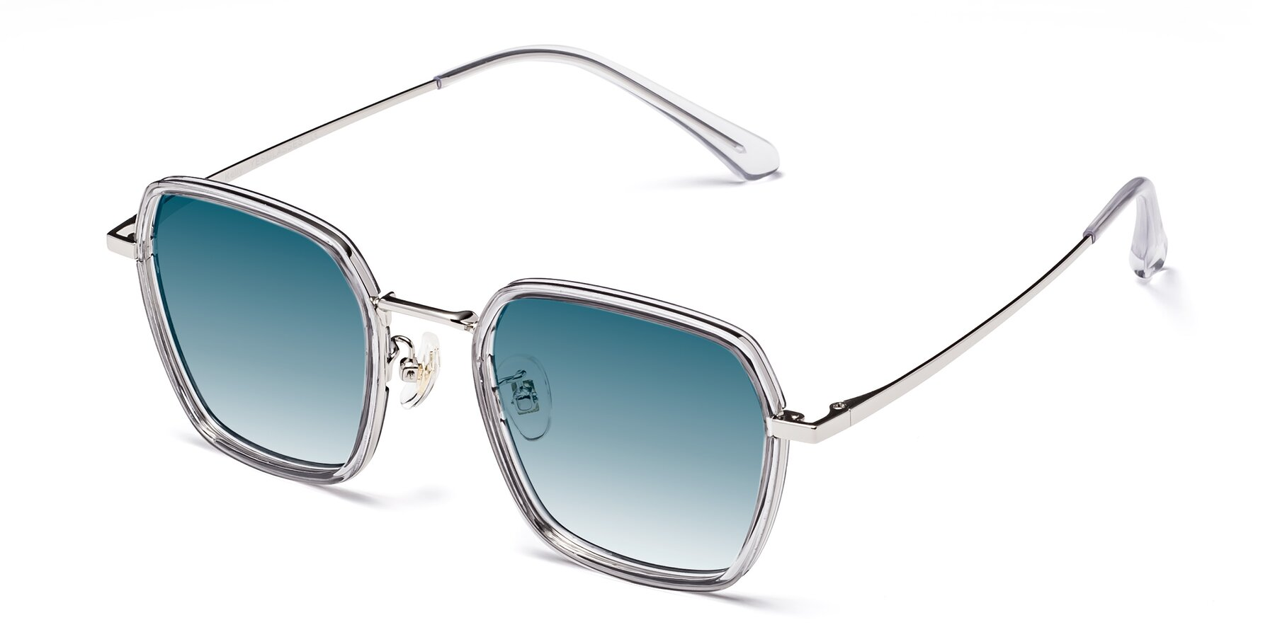 Angle of Kelly in Light Gray-Silver with Blue Gradient Lenses