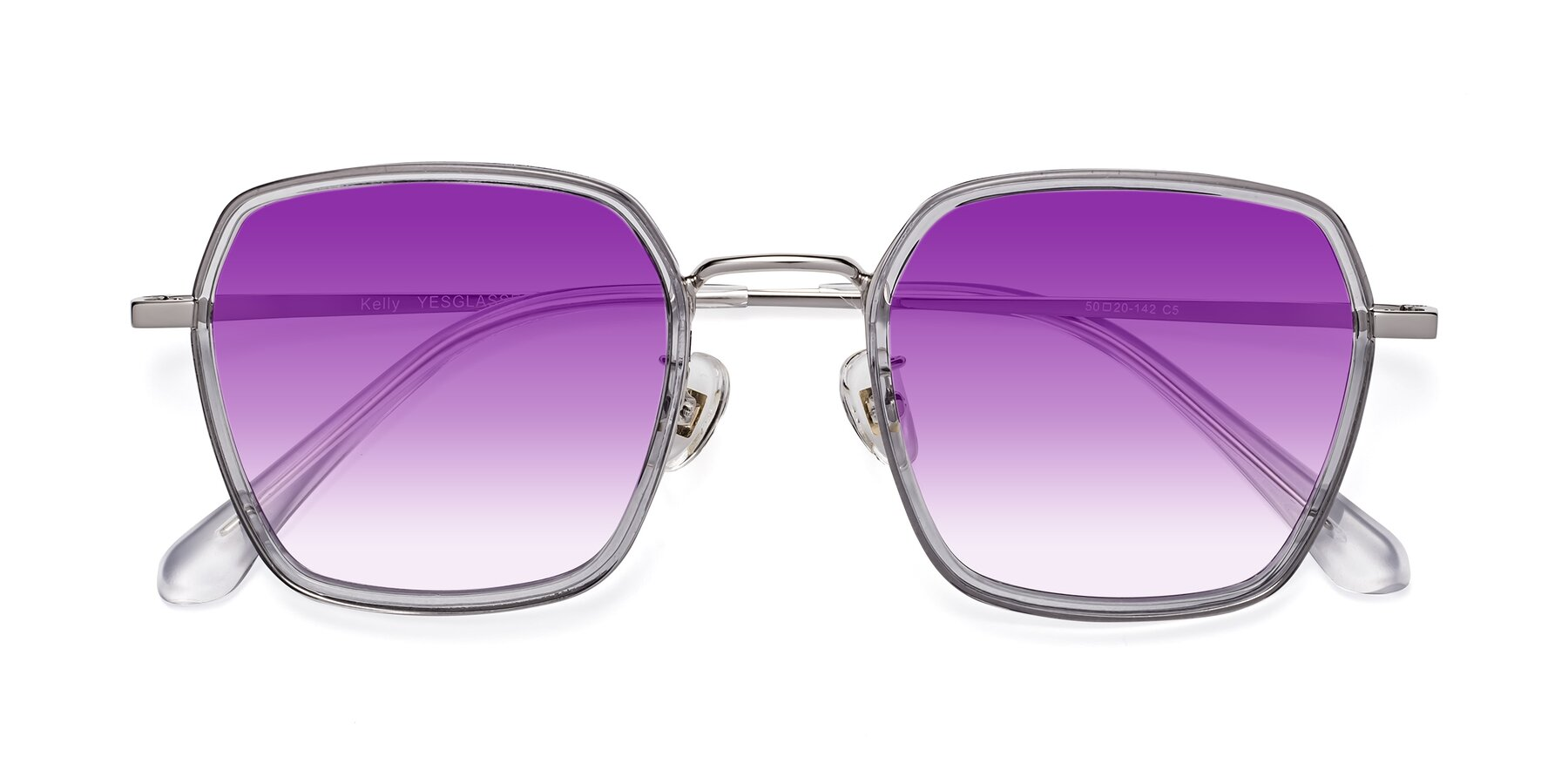 Folded Front of Kelly in Light Gray-Silver with Purple Gradient Lenses