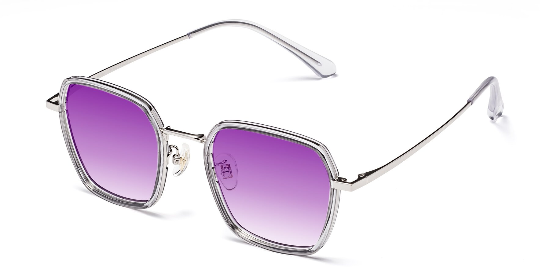 Angle of Kelly in Light Gray-Silver with Purple Gradient Lenses