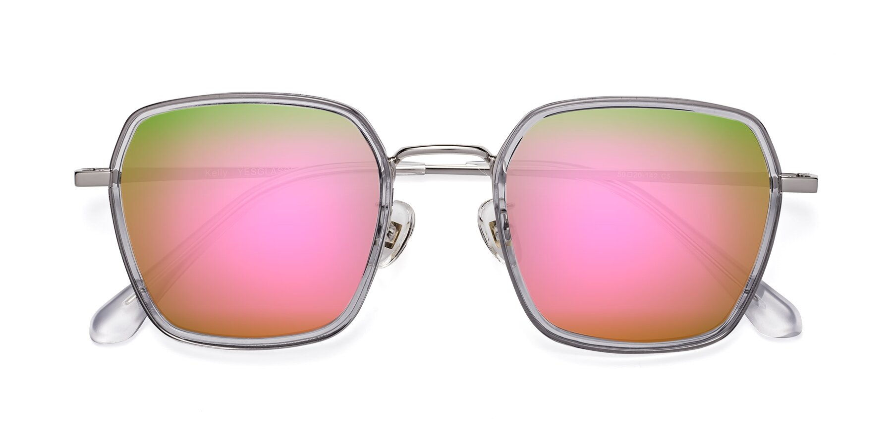 Folded Front of Kelly in Light Gray-Silver with Pink Mirrored Lenses