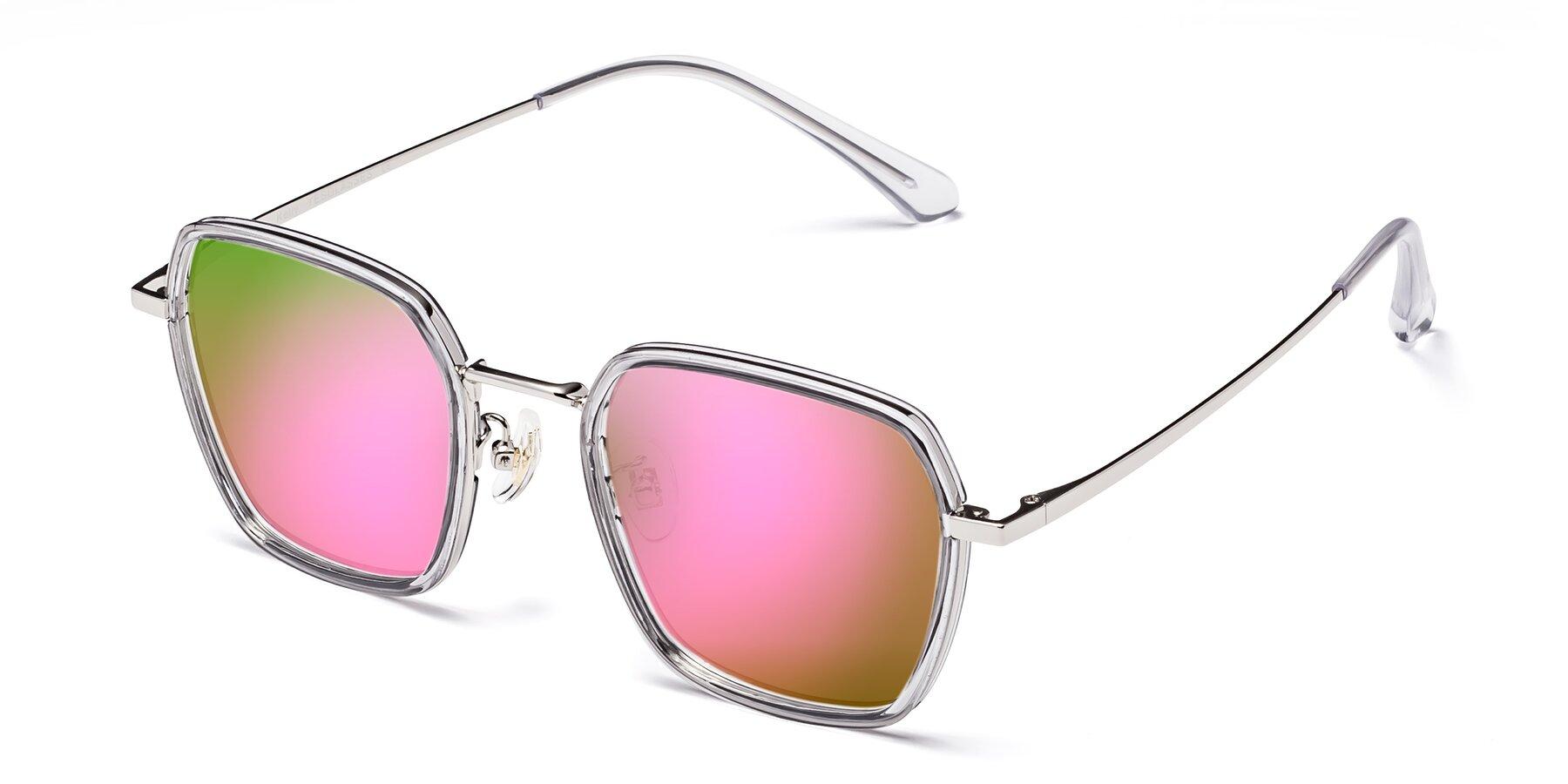 Angle of Kelly in Light Gray-Silver with Pink Mirrored Lenses