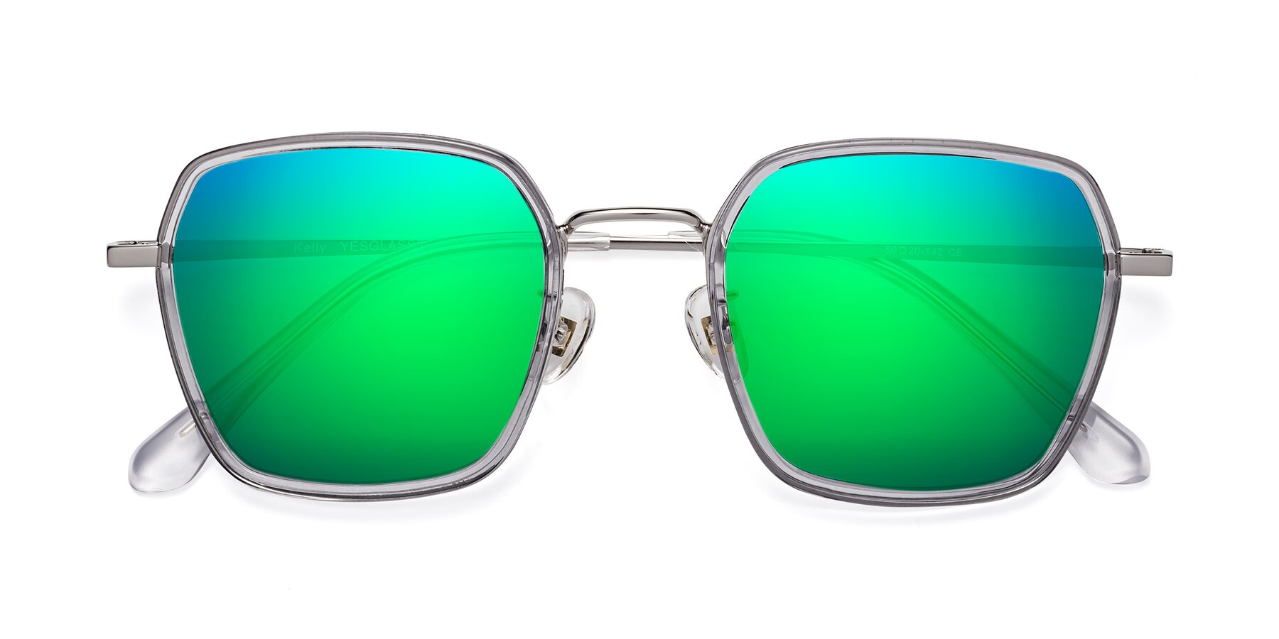 Folded Front of Kelly in Light Gray-Silver with Green Mirrored Lenses