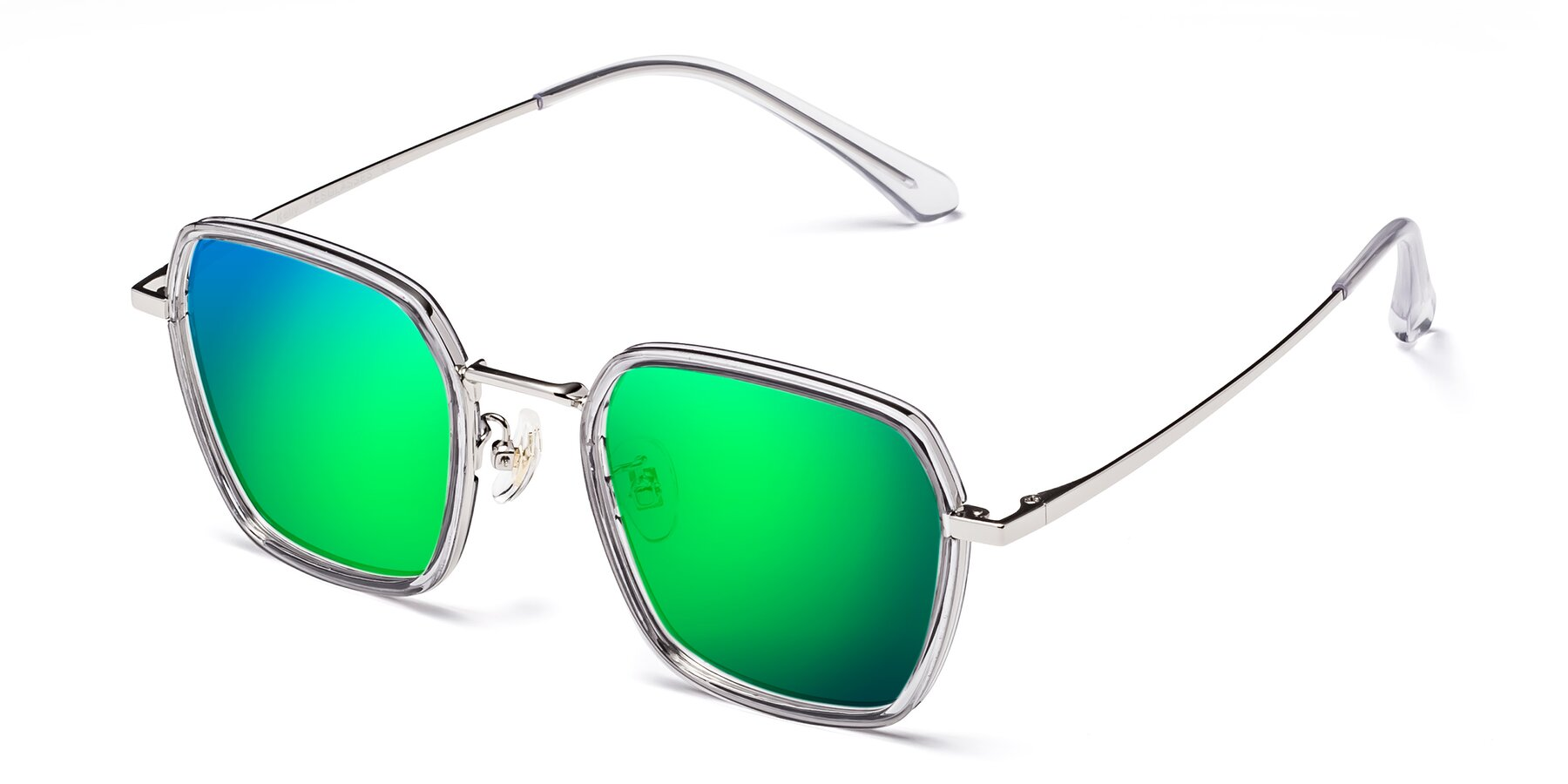 Angle of Kelly in Light Gray-Silver with Green Mirrored Lenses