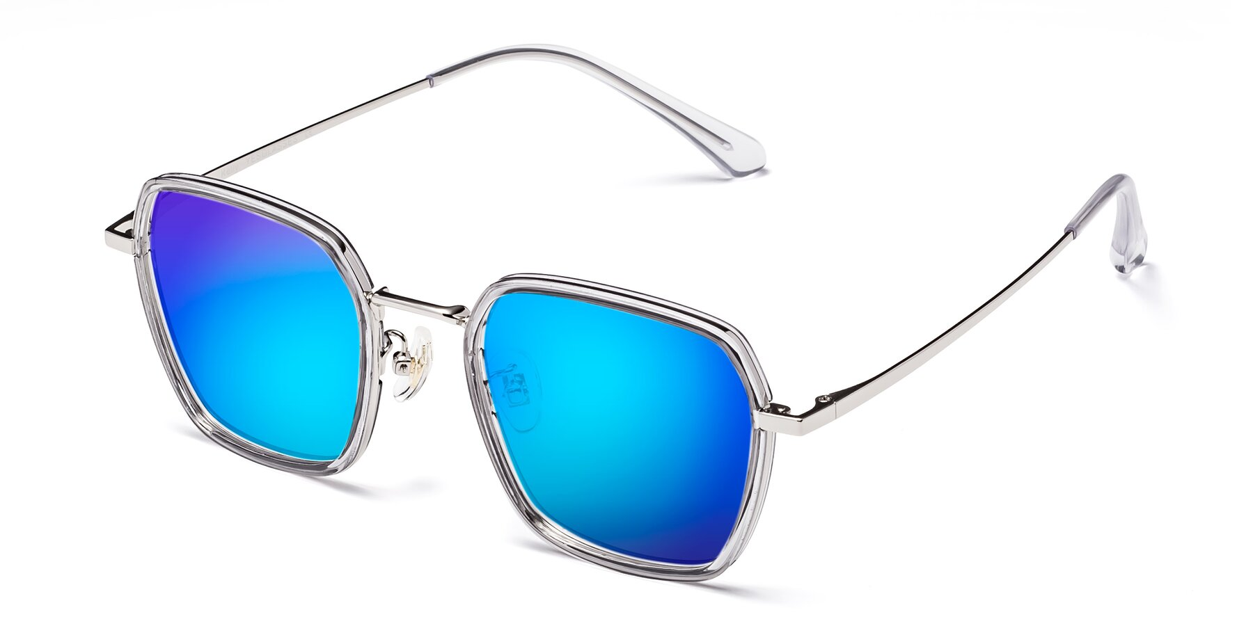 Angle of Kelly in Light Gray-Silver with Blue Mirrored Lenses