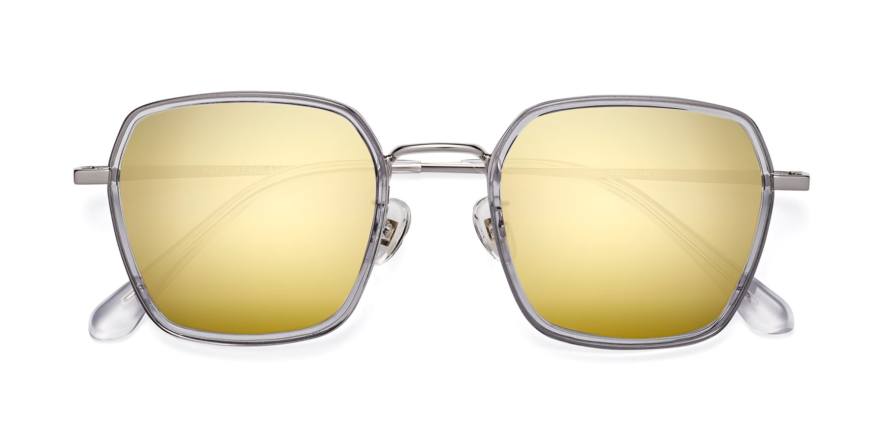 Folded Front of Kelly in Light Gray-Silver with Gold Mirrored Lenses