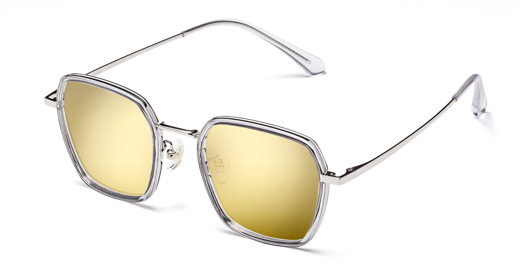 Angle of Kelly in Light Gray-Silver with Gold Mirrored Lenses