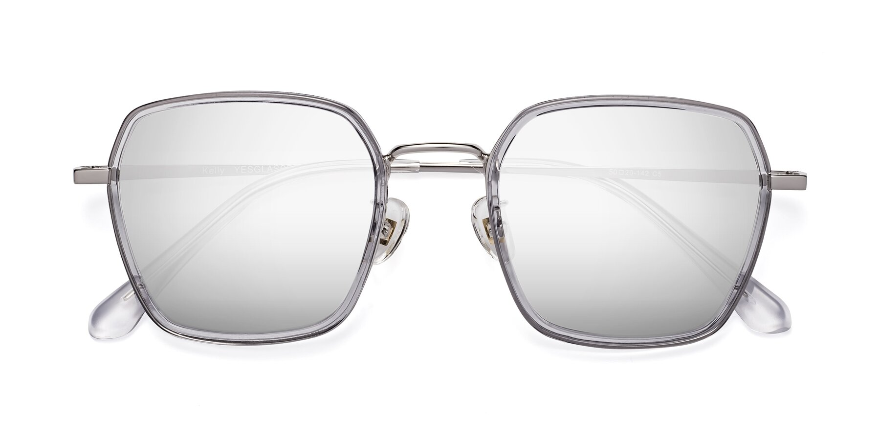 Folded Front of Kelly in Light Gray-Silver with Silver Mirrored Lenses