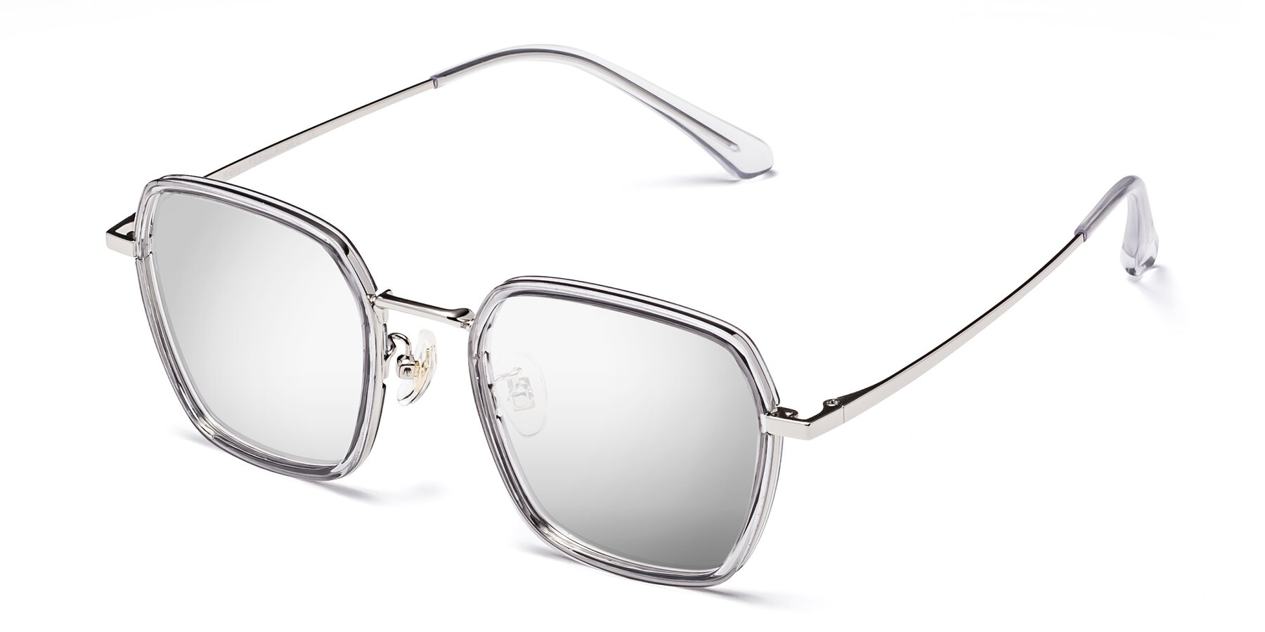 Angle of Kelly in Light Gray-Silver with Silver Mirrored Lenses