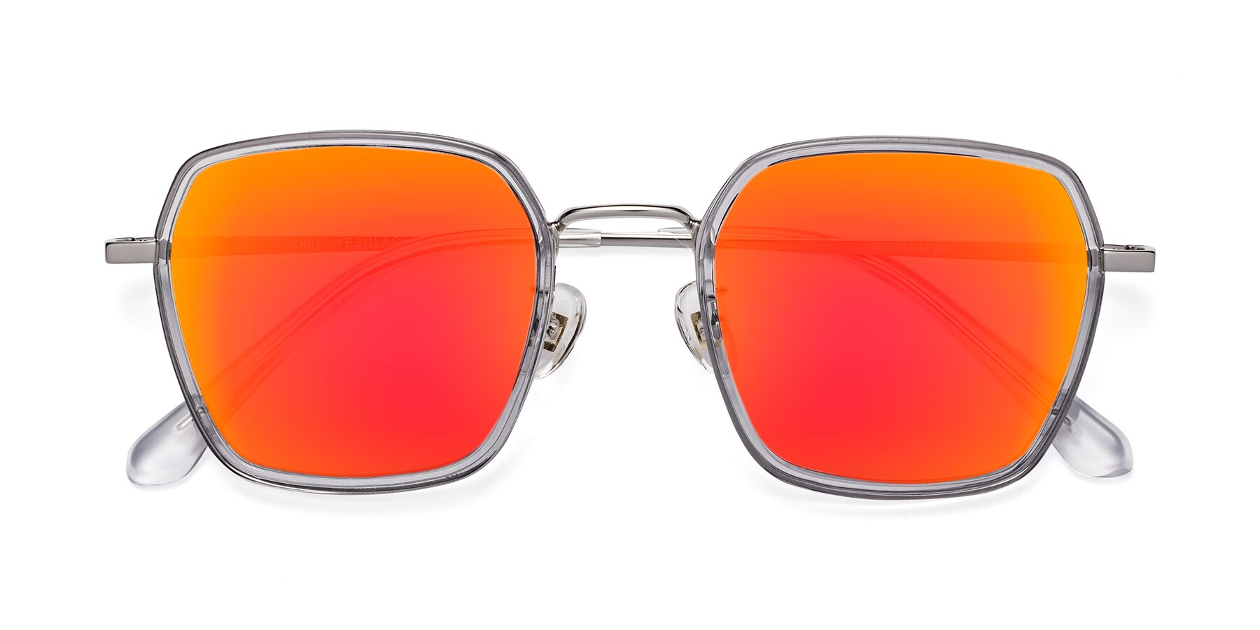 Folded Front of Kelly in Light Gray-Silver with Red Gold Mirrored Lenses