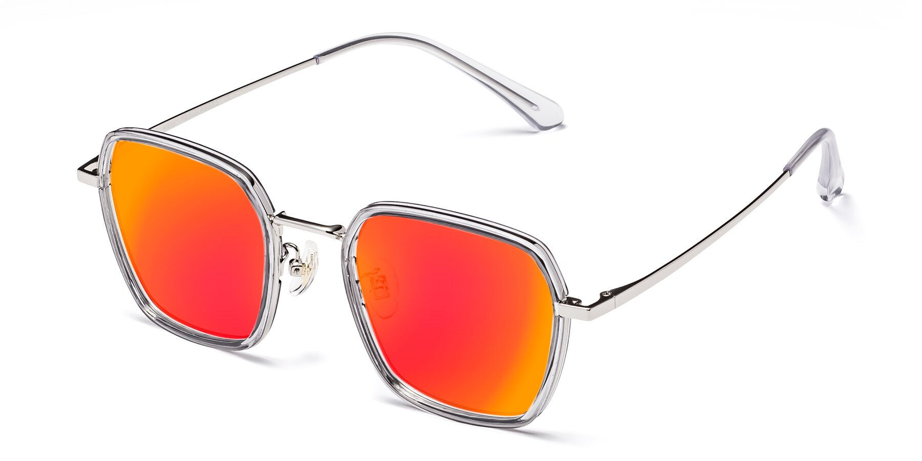 Angle of Kelly in Light Gray-Silver with Red Gold Mirrored Lenses