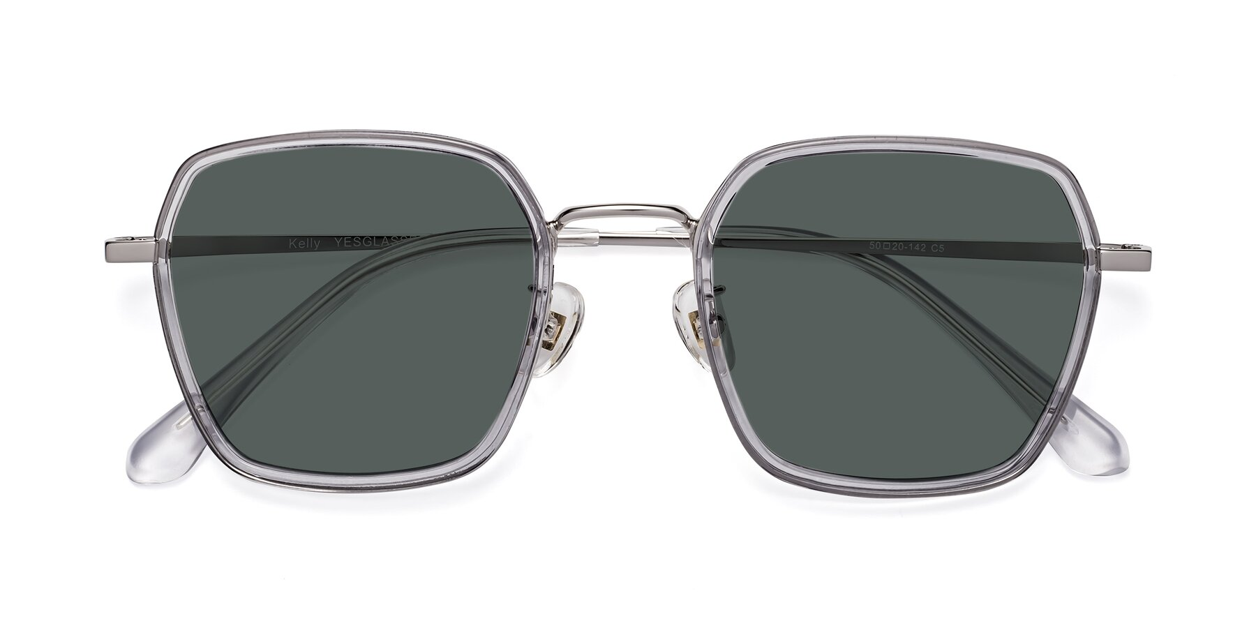 Folded Front of Kelly in Light Gray-Silver with Gray Polarized Lenses
