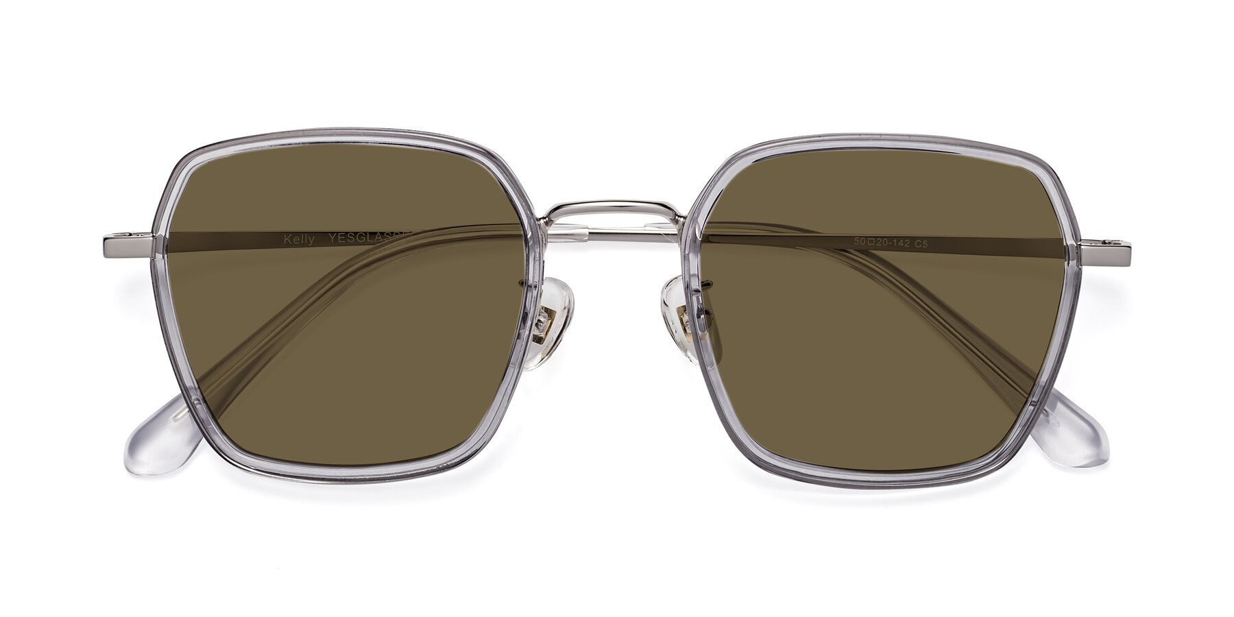 Folded Front of Kelly in Light Gray-Silver with Brown Polarized Lenses