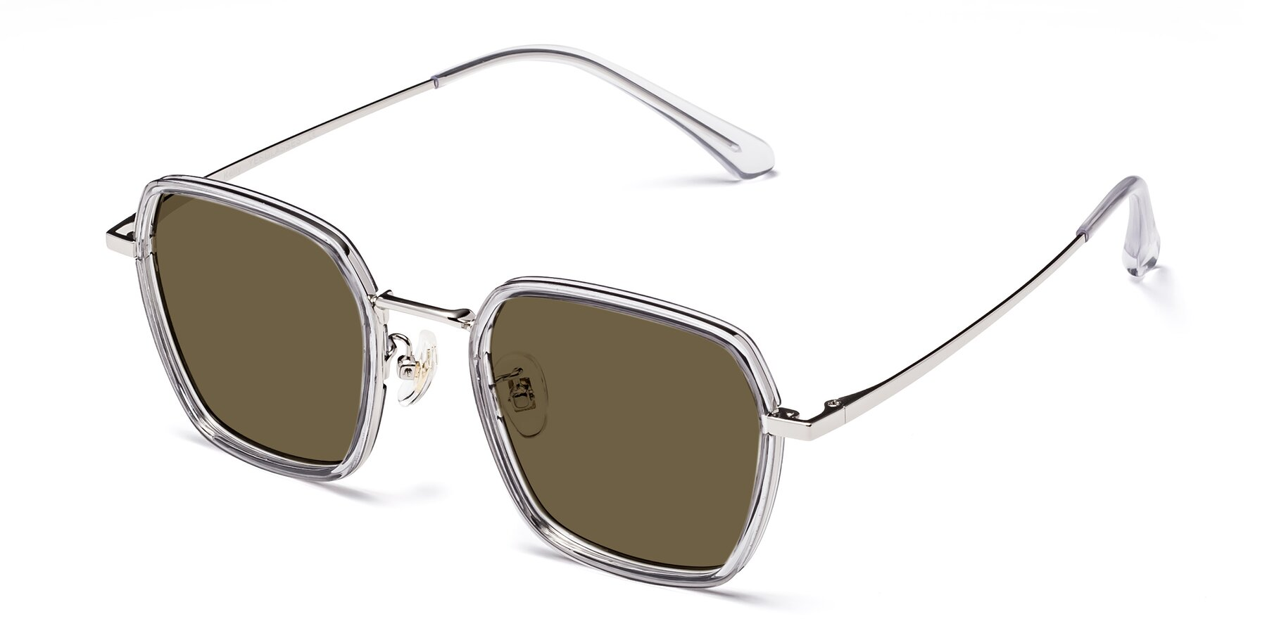 Angle of Kelly in Light Gray-Silver with Brown Polarized Lenses