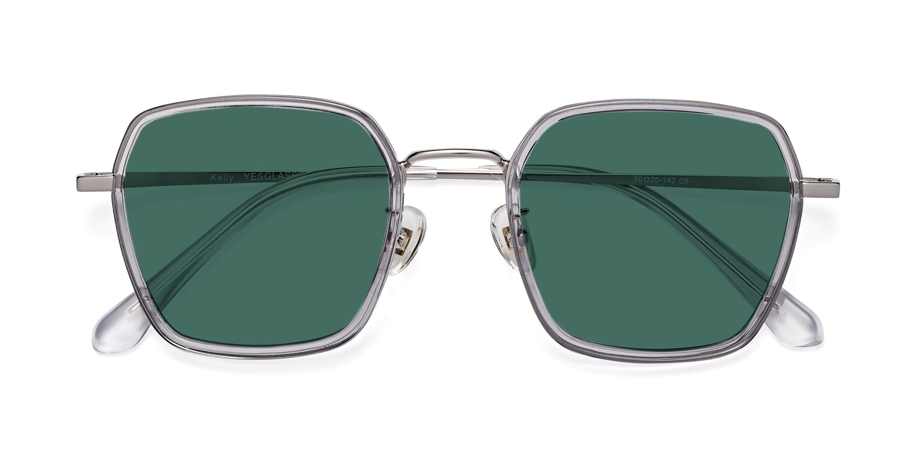 Folded Front of Kelly in Light Gray-Silver with Green Polarized Lenses