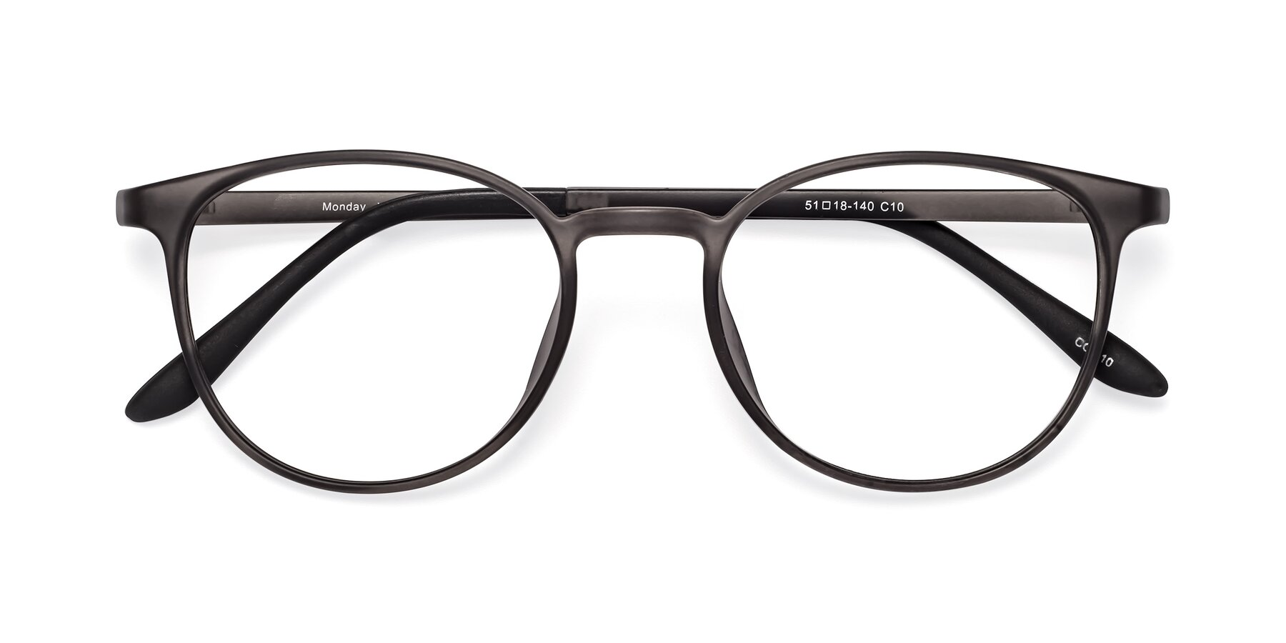Folded Front of Monday in Translucent Gray with Clear Blue Light Blocking Lenses