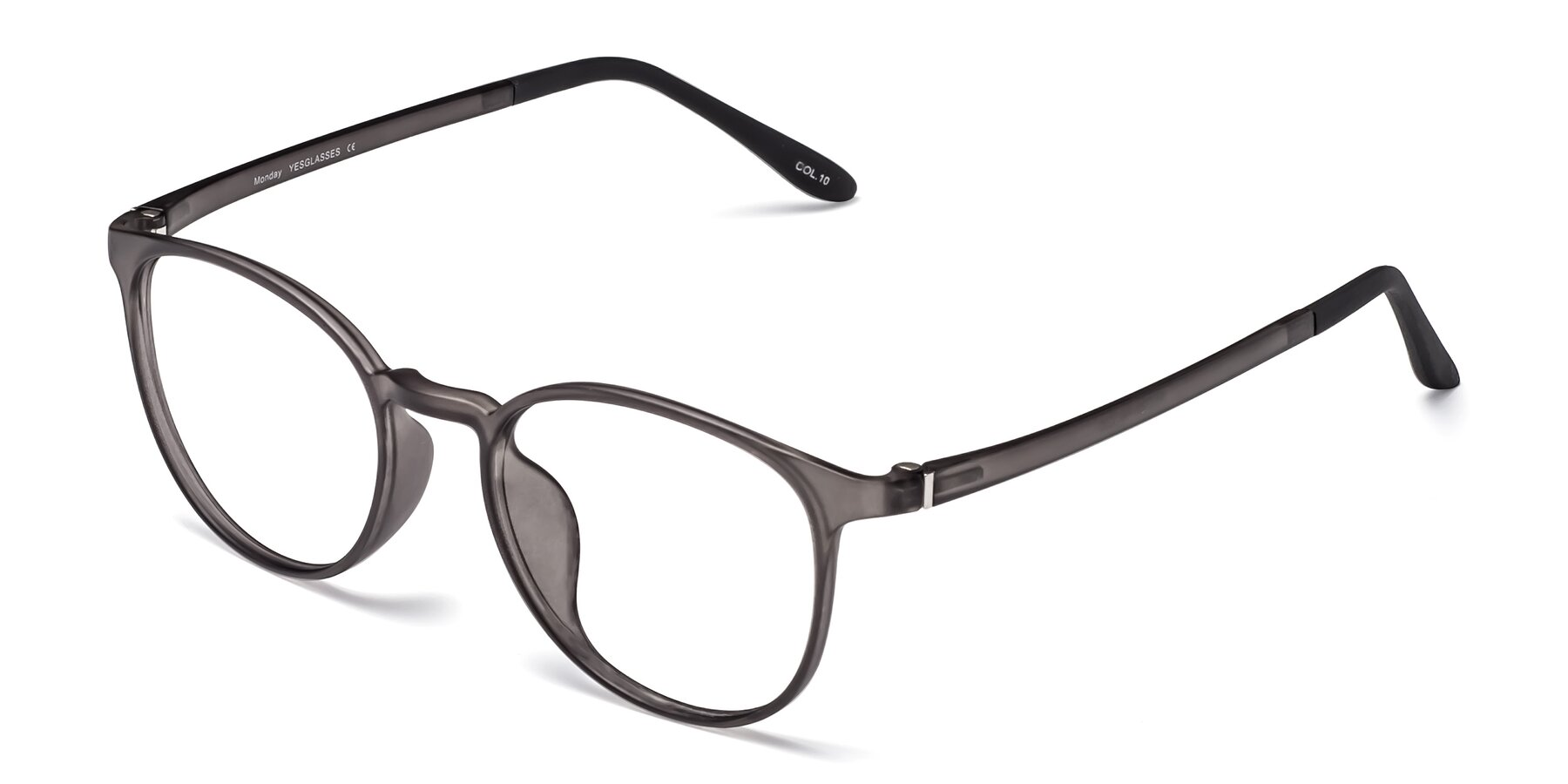 Angle of Monday in Translucent Gray with Clear Blue Light Blocking Lenses