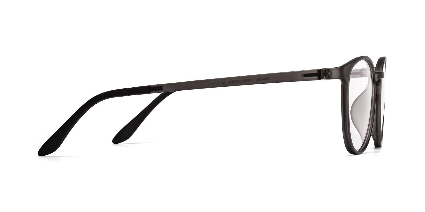 Side of Monday in Translucent Gray with Clear Blue Light Blocking Lenses